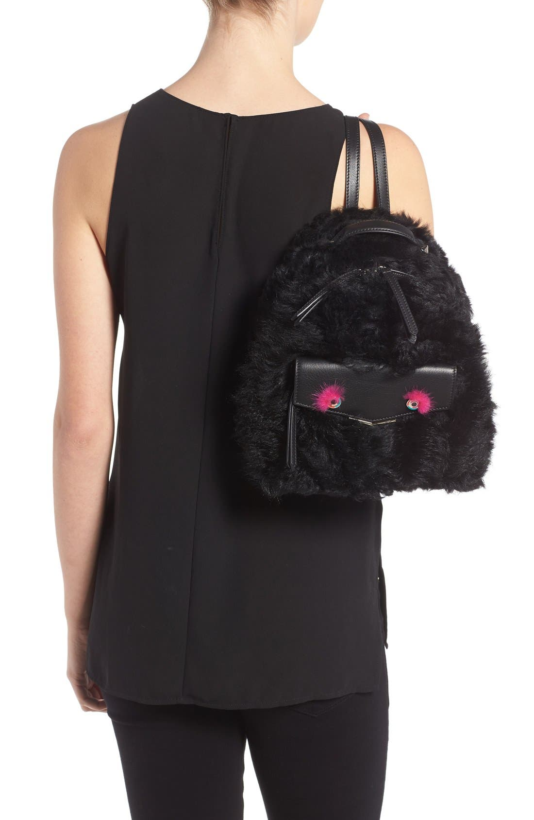 'Mini Monster' Genuine Shearling & Genuine Mink Fur Backpack,                             Alternate thumbnail 6, color,                             BLACK/ FUCHSIA / PALLADIUM