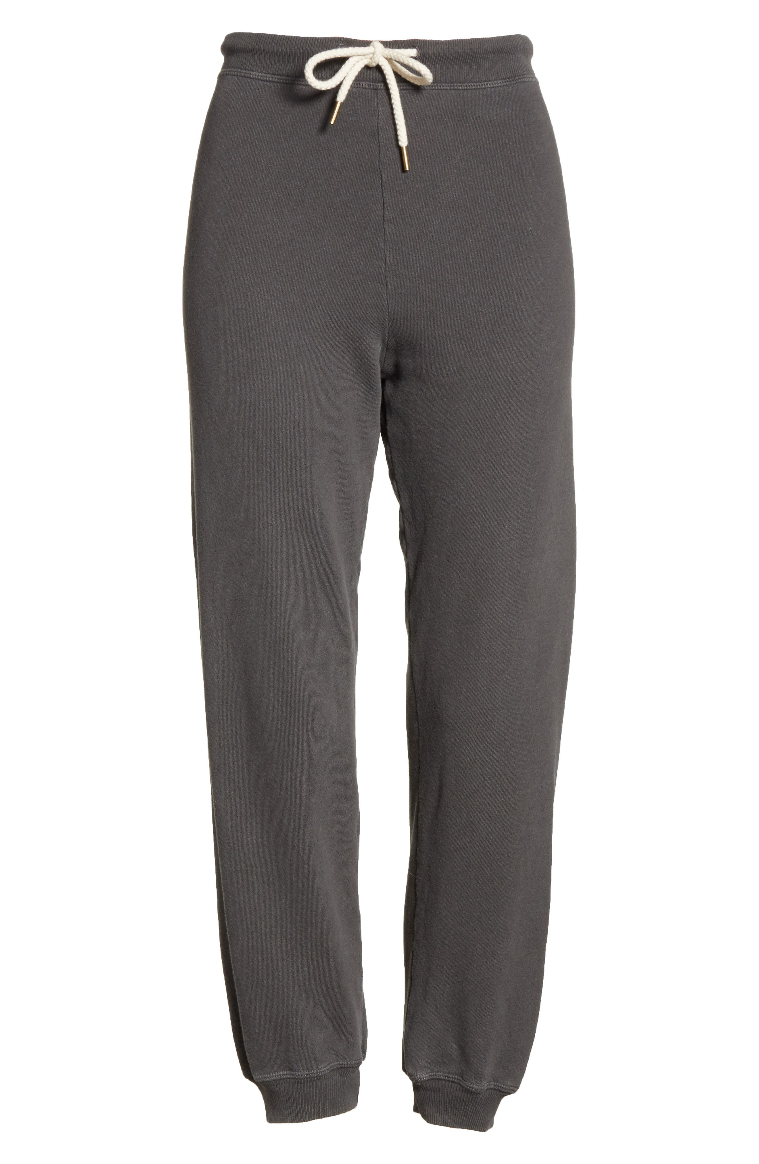 The Cropped Jogger Pants,                             Alternate thumbnail 6, color,                             WASHED BLACK