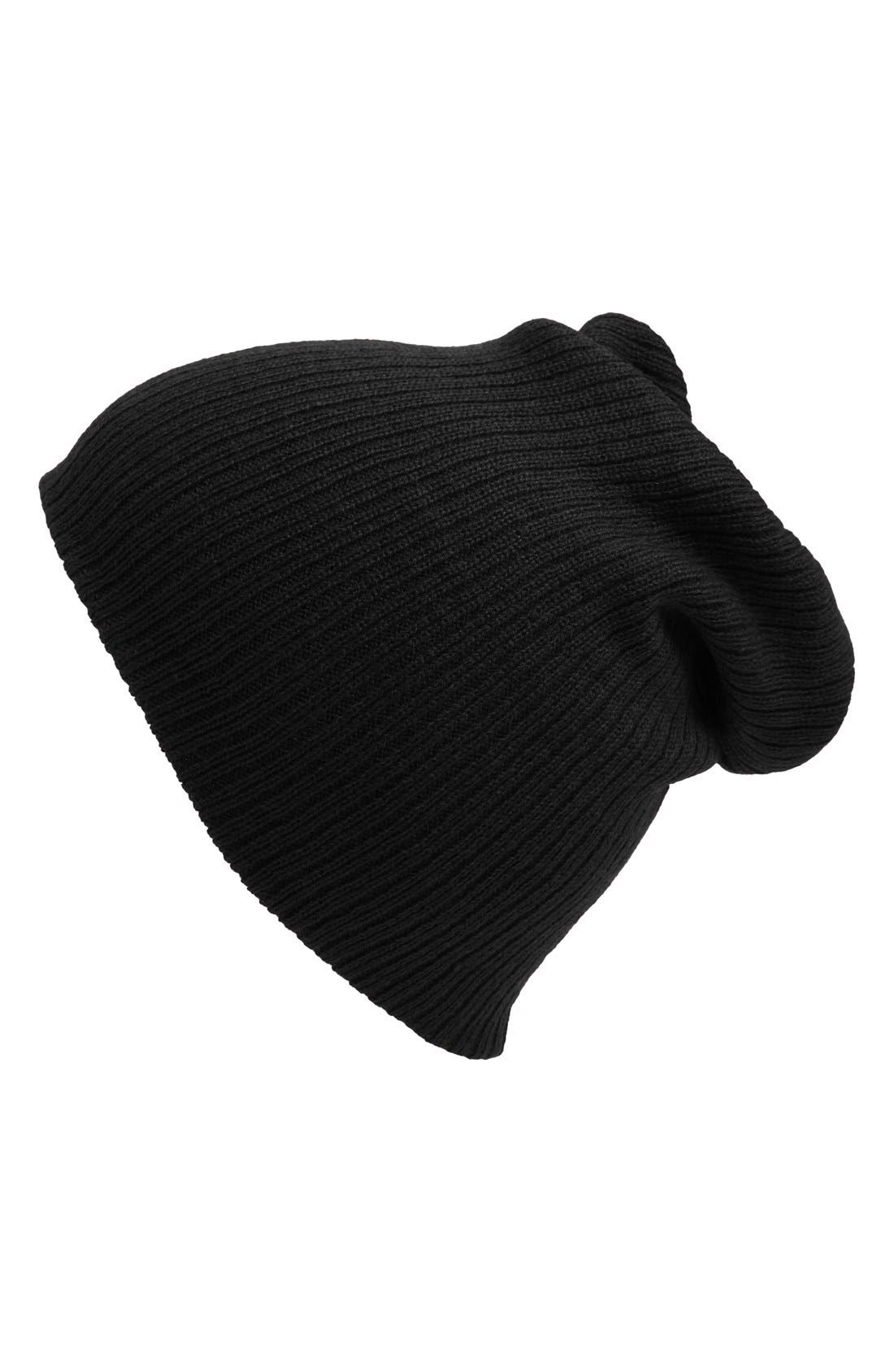 Slouchy Ribbed Beanie,                             Alternate thumbnail 6, color,                             001