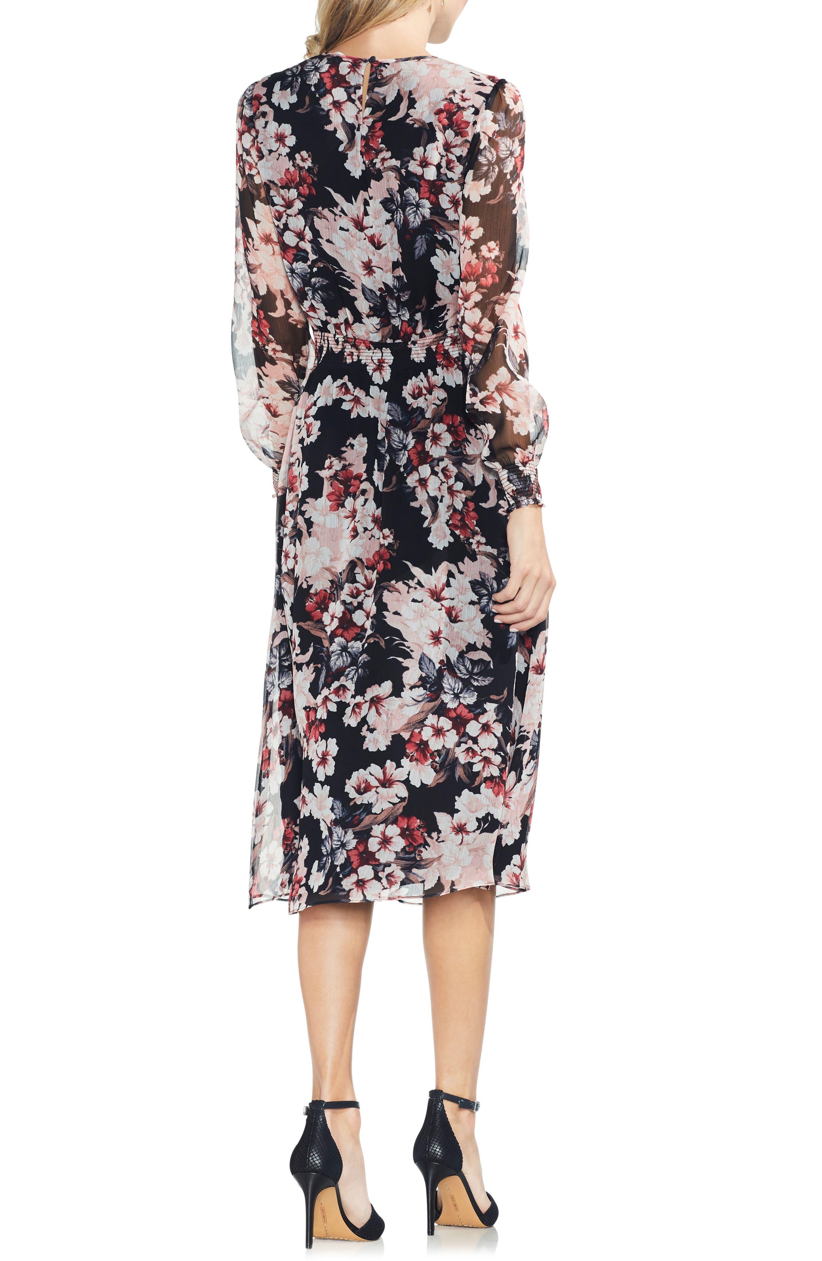 VINCE CAMUTO,                             Timeless Blooms Cinch Waist Midi Dress,                             Alternate thumbnail 2, color,                             006