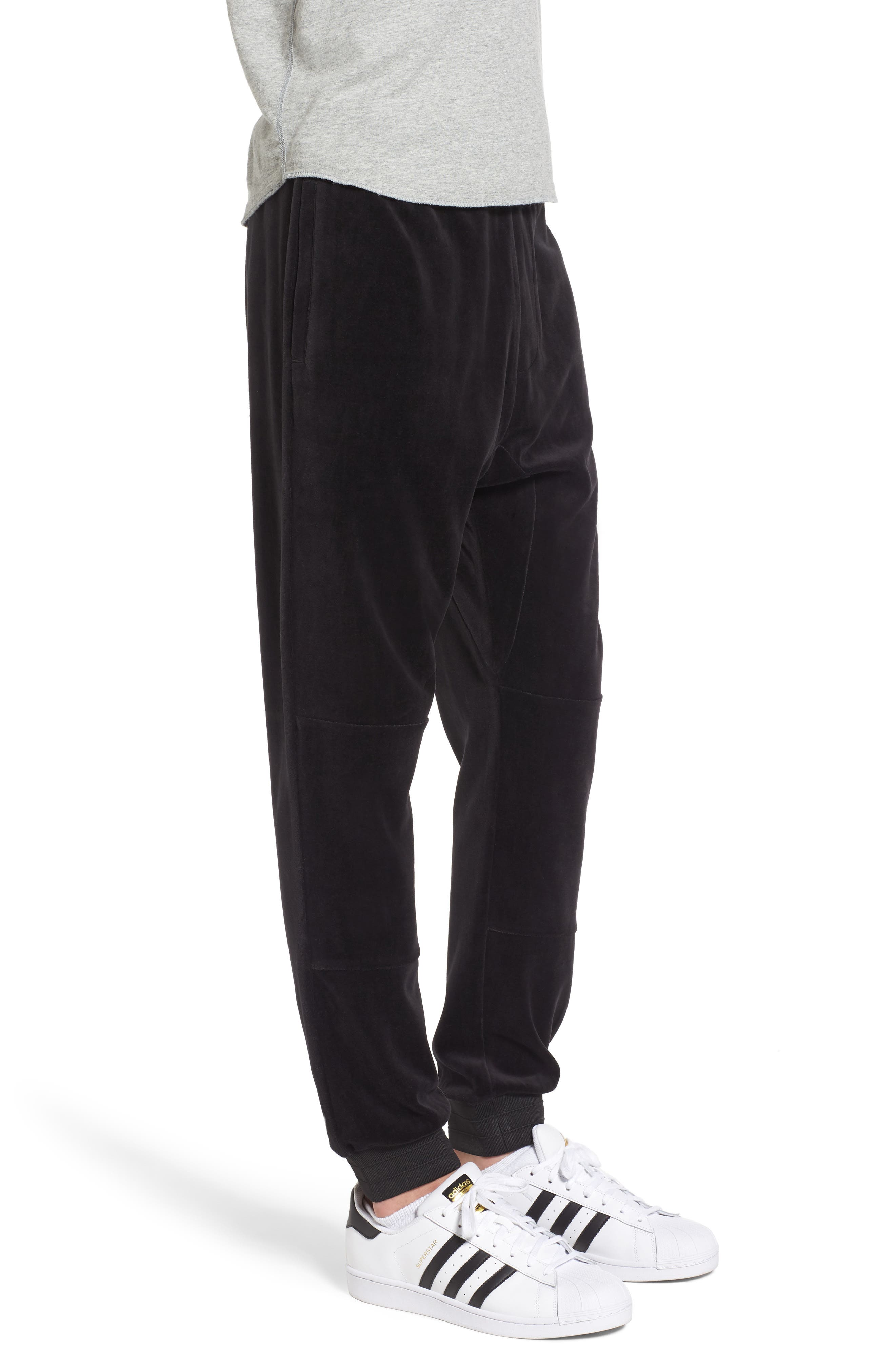 Velour Jogger Pants,                             Alternate thumbnail 3, color,                             001
