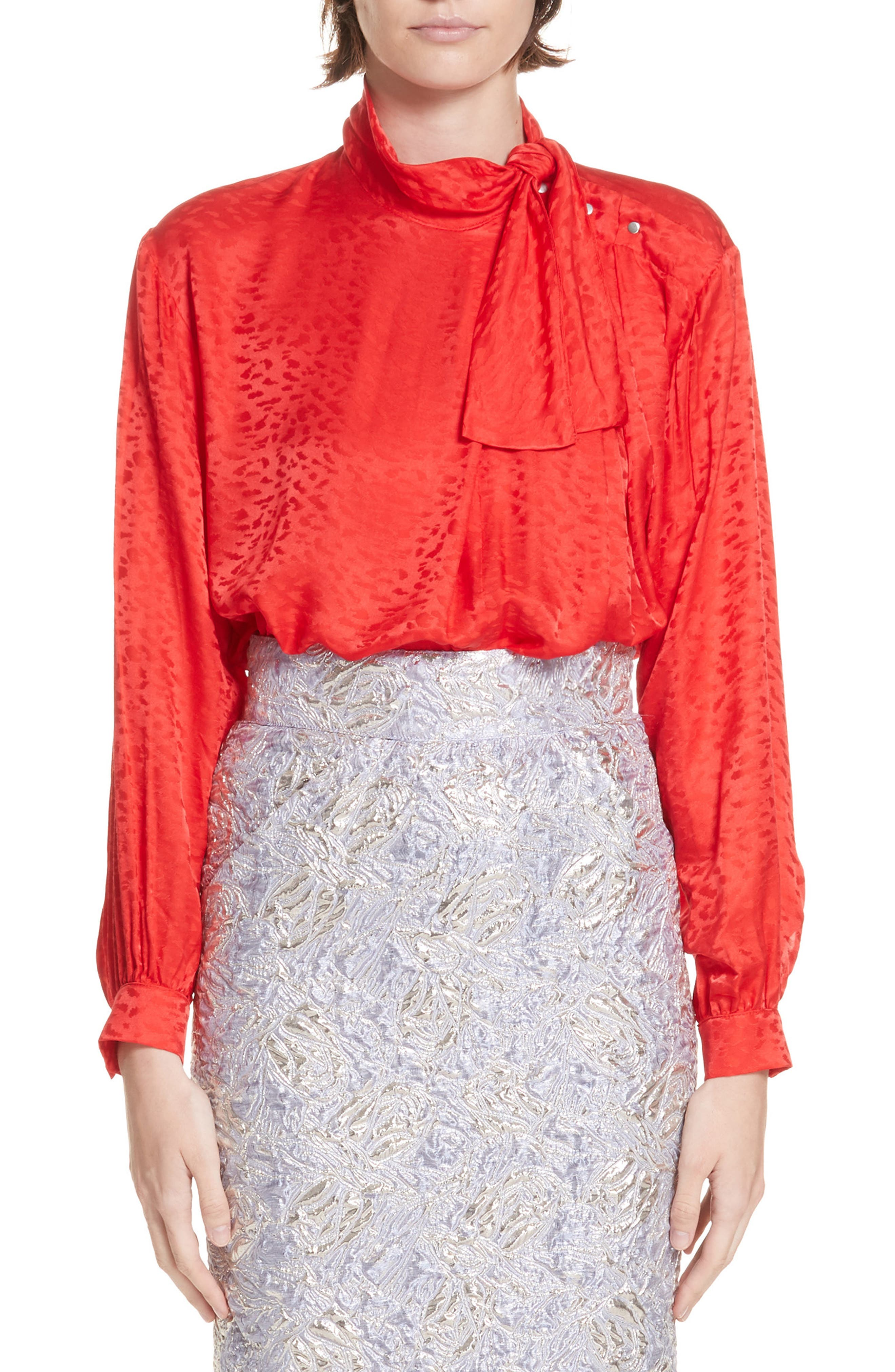 ROSEANNA Market Tie Neck Jacquard Blouse in Rouge