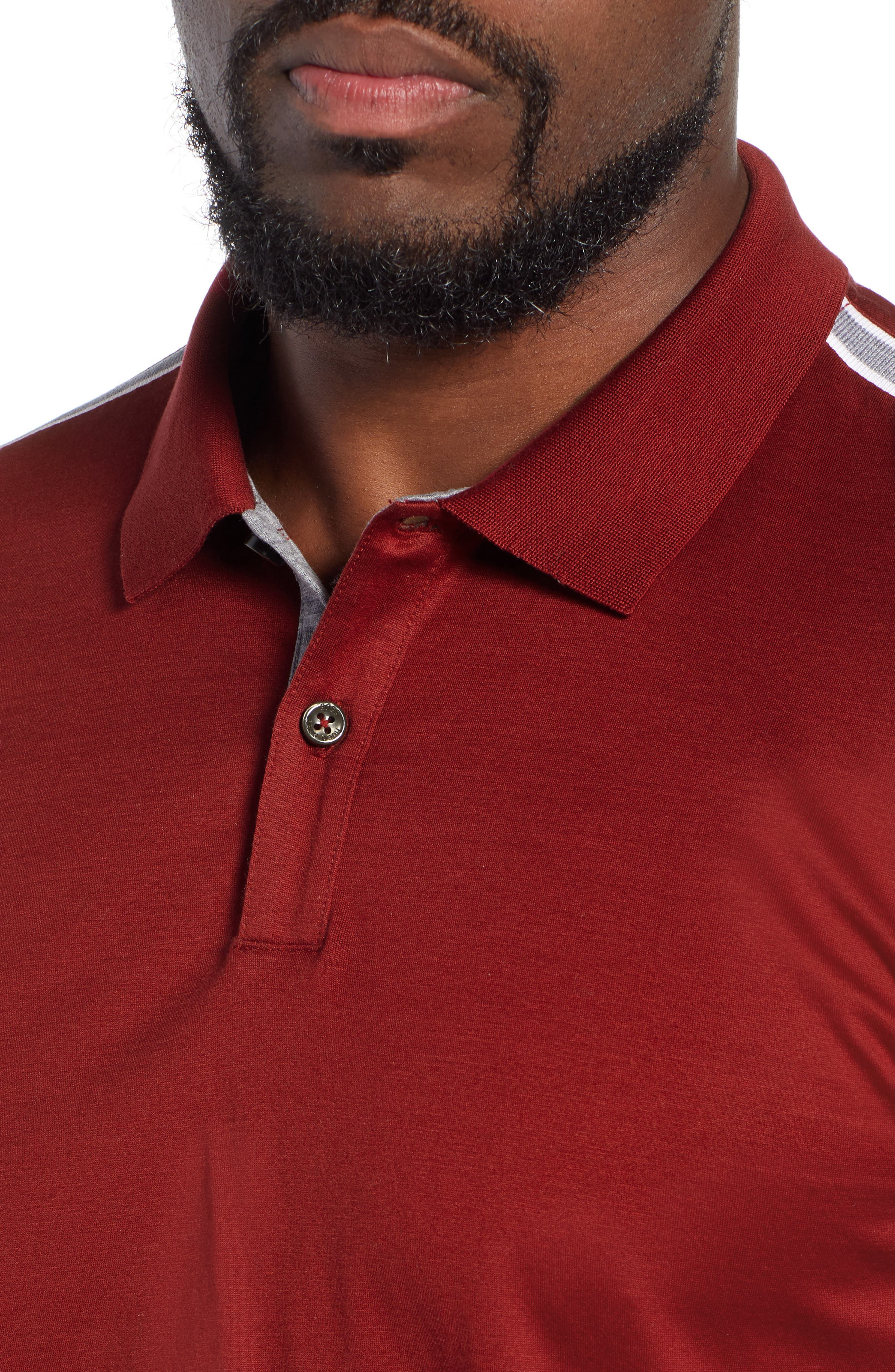 Pleins Slim Fit Long Sleeve Polo,                             Alternate thumbnail 4, color,                             RED