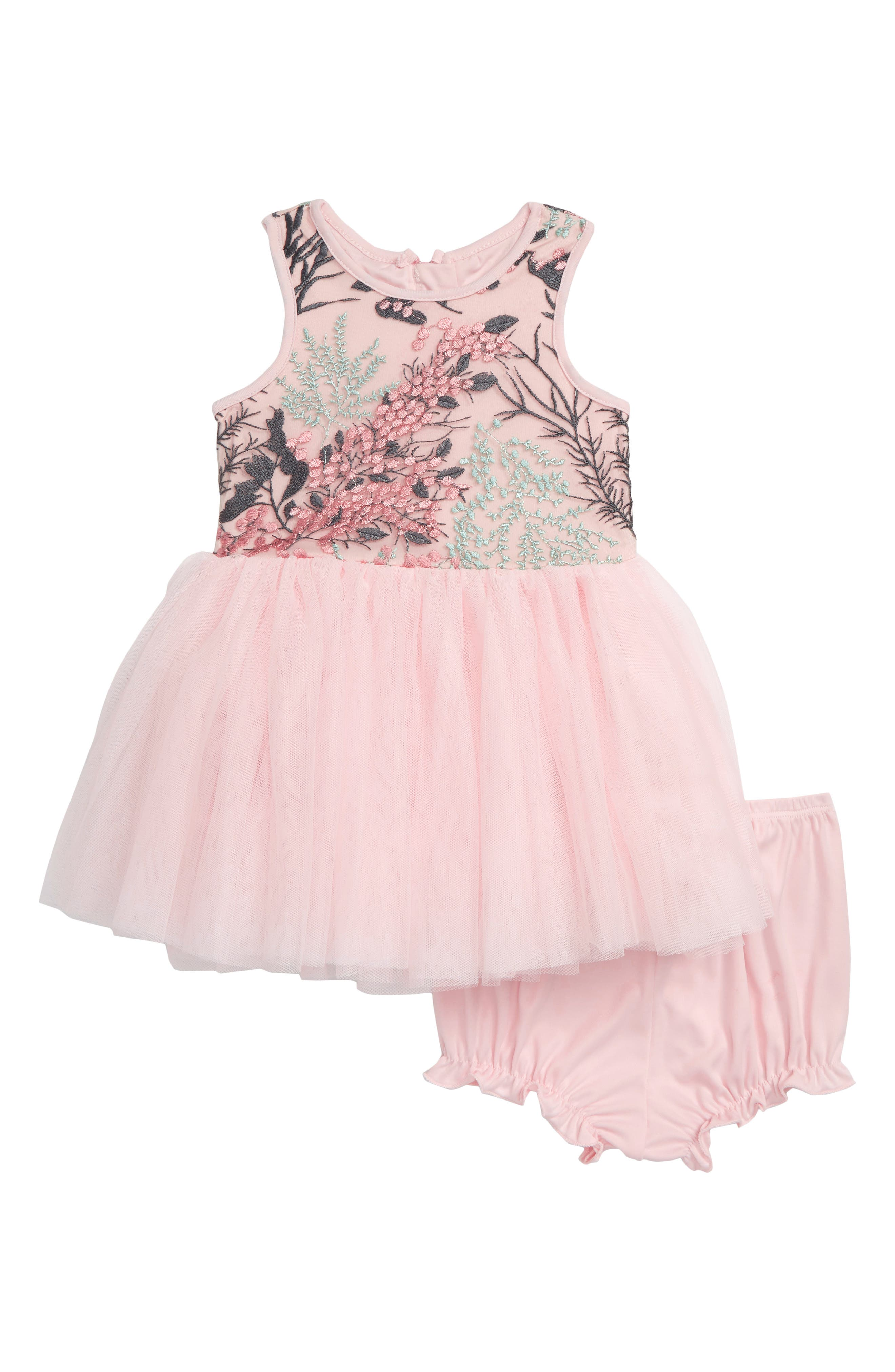 Embroidered Tutu Dress,                         Main,                         color, BEIGE