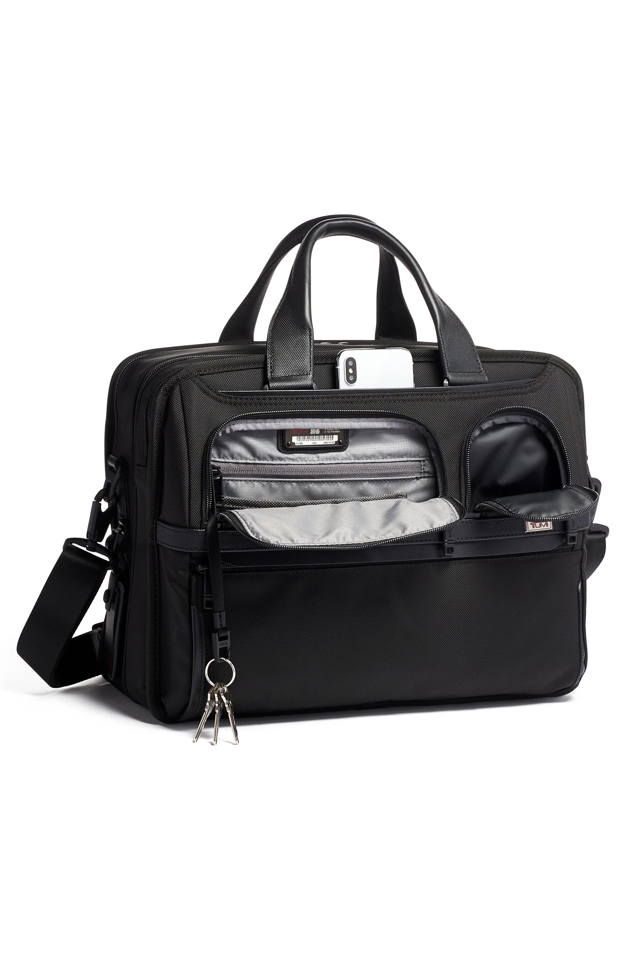 TUMI,                             Alpha 3 T-Pass<sup>®</sup> Expandable Laptop Briefcase,                             Alternate thumbnail 5, color,                             BLACK