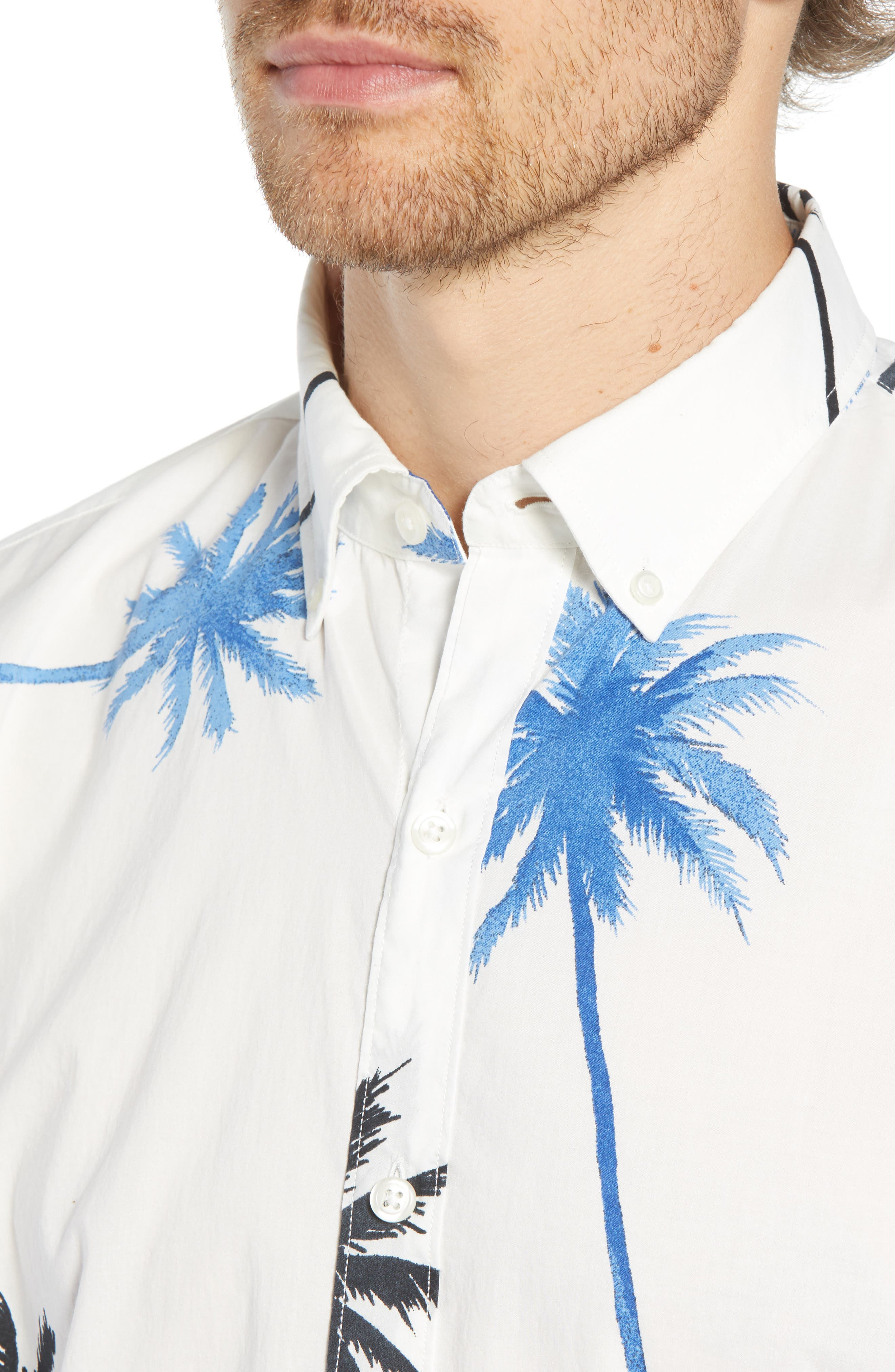 Summerweight Slim Fit Palm Print Sport Shirt,                             Alternate thumbnail 2, color,                             PALM TREE VIEW - GALAXY BLUE