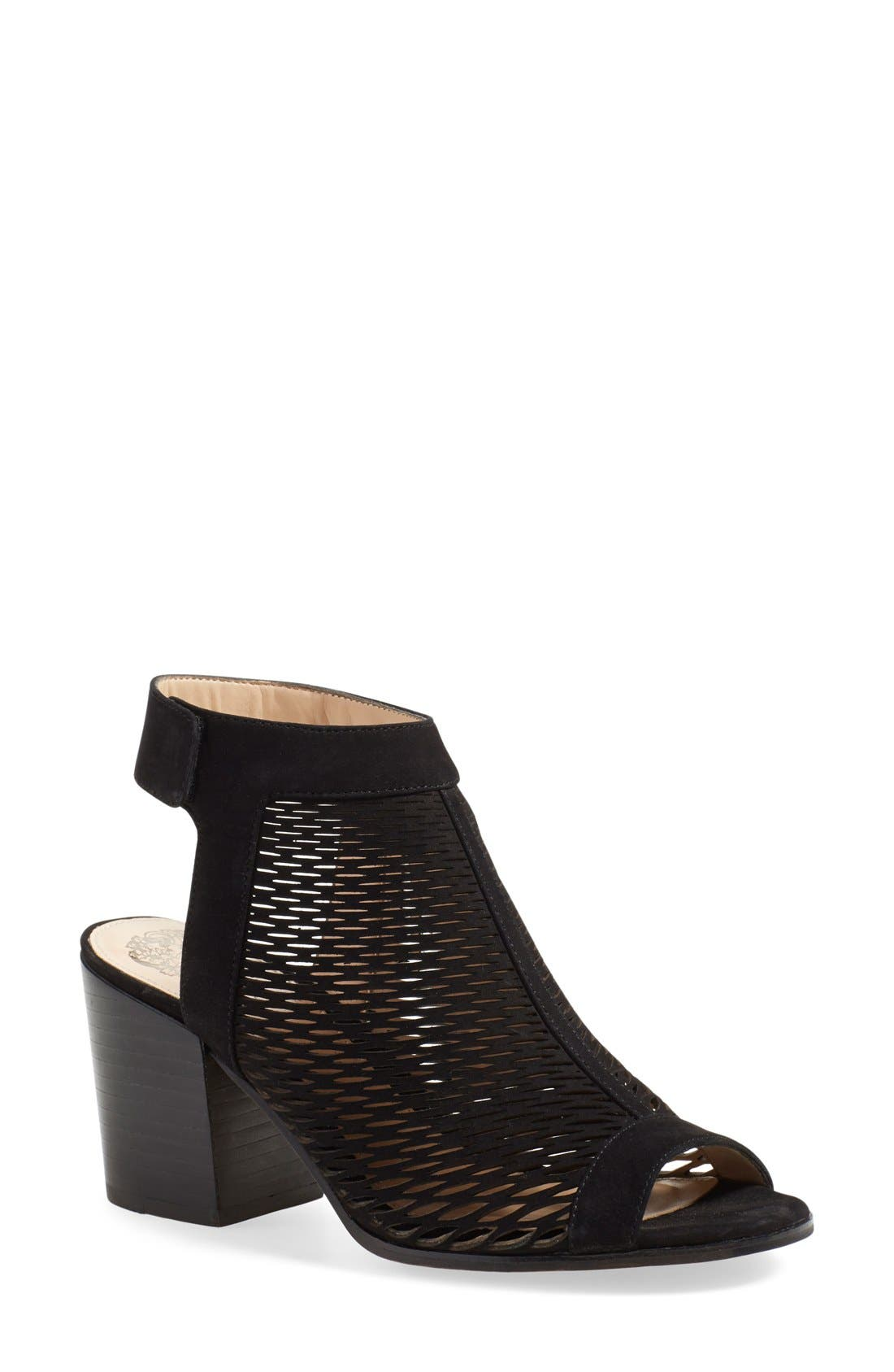'Lavette' Perforated Peep Toe Bootie,                             Main thumbnail 1, color,                             001