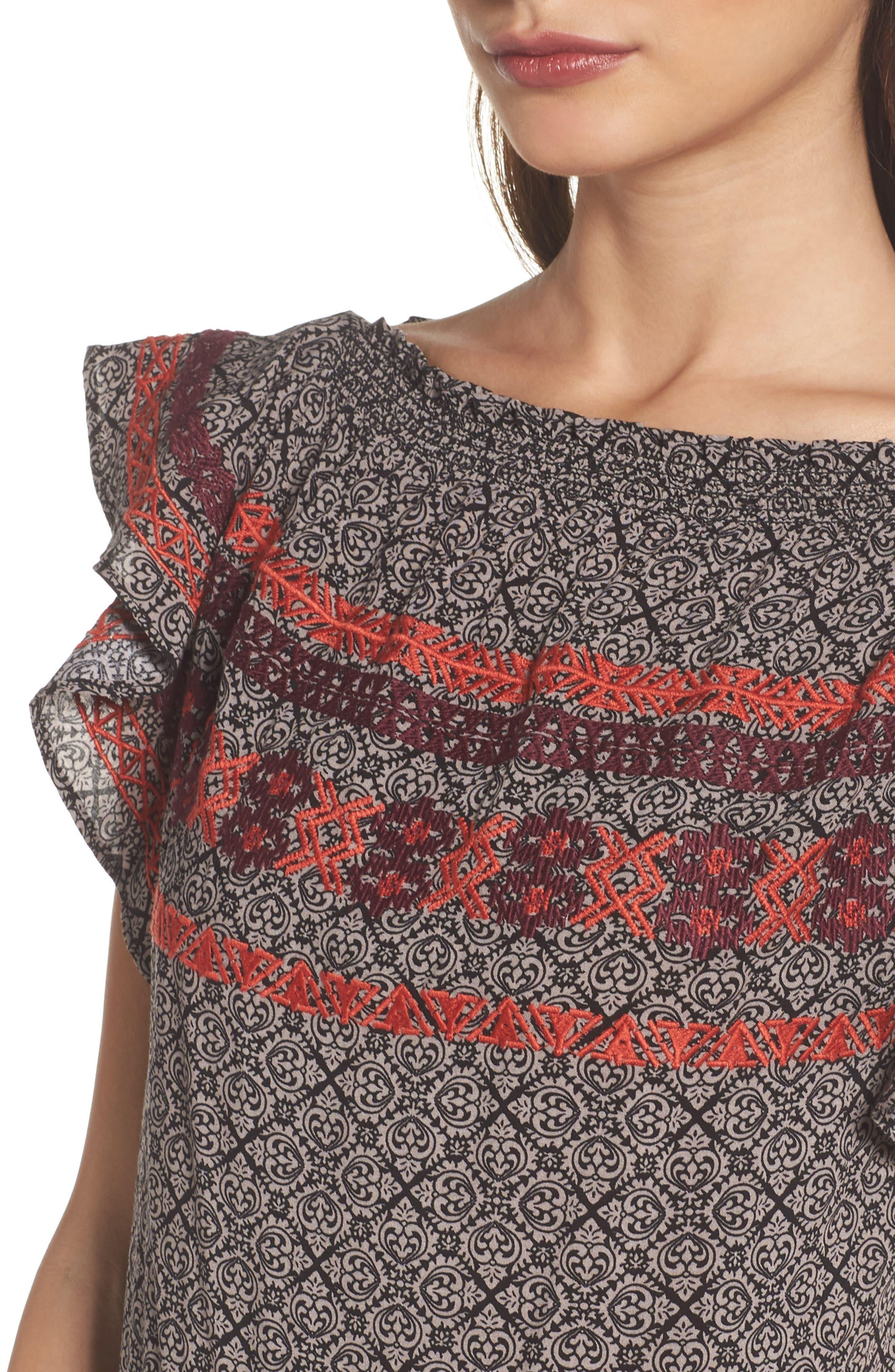 Flutter Sleeve Shift Dress,                             Alternate thumbnail 4, color,                             001