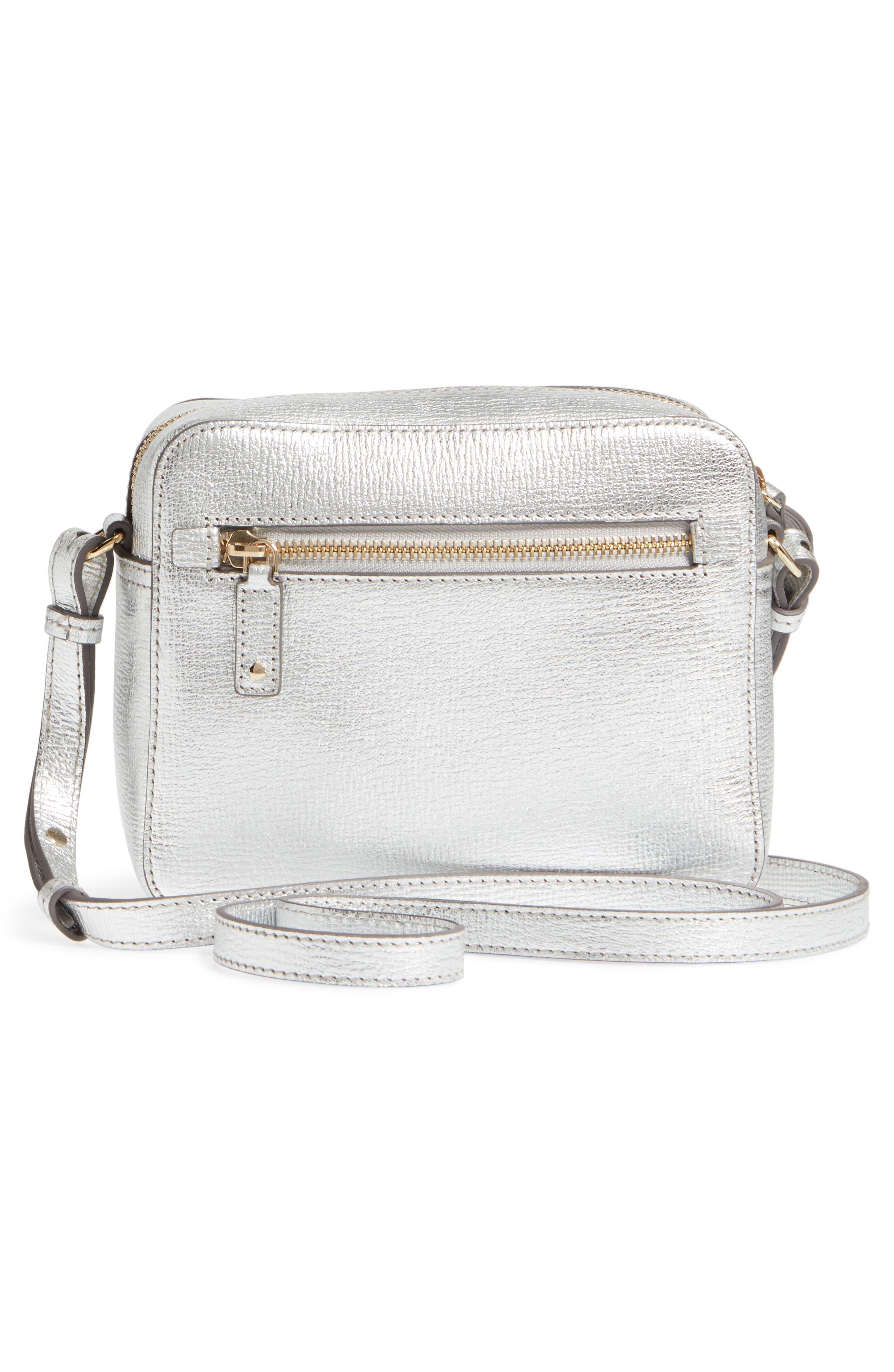 Smiley Metallic Leather Crossbody Bag,                             Alternate thumbnail 3, color,                             SILVER