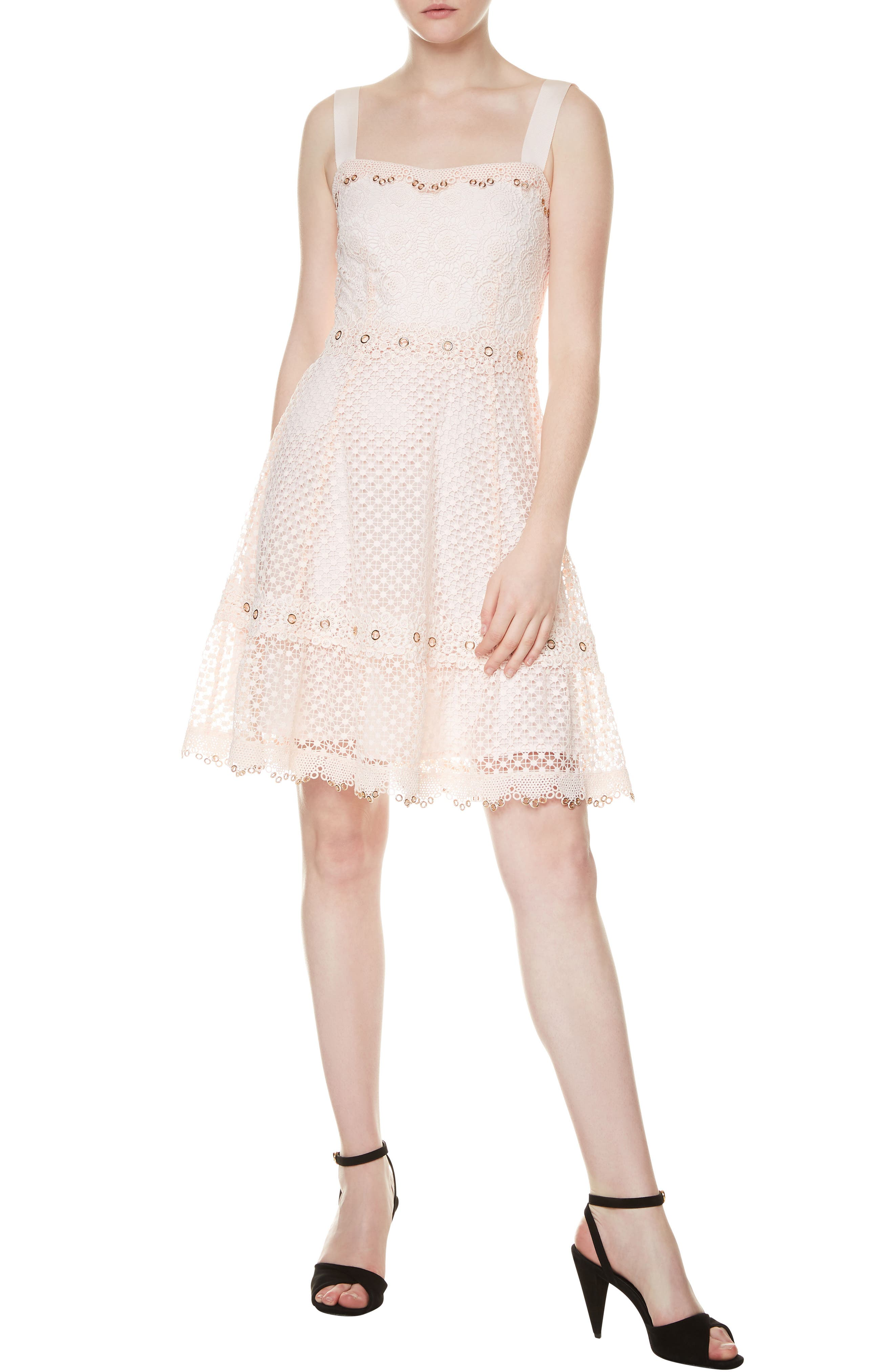 MAJE Rosalina A-Line Lace Dress, Main, color, 650