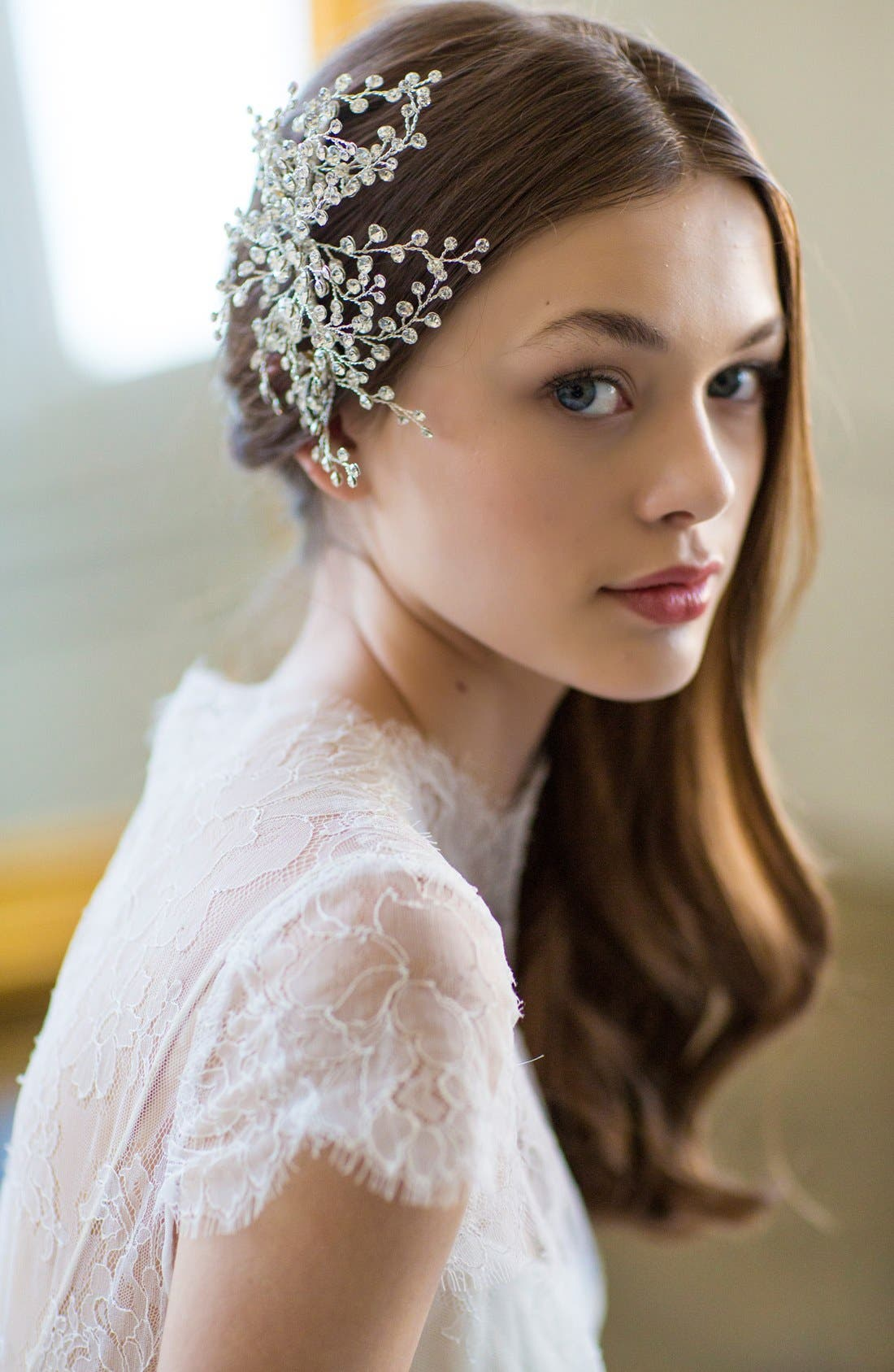 'Veda' Crystal Embellished Hair Comb,                             Alternate thumbnail 2, color,                             CLASSIC SILVER
