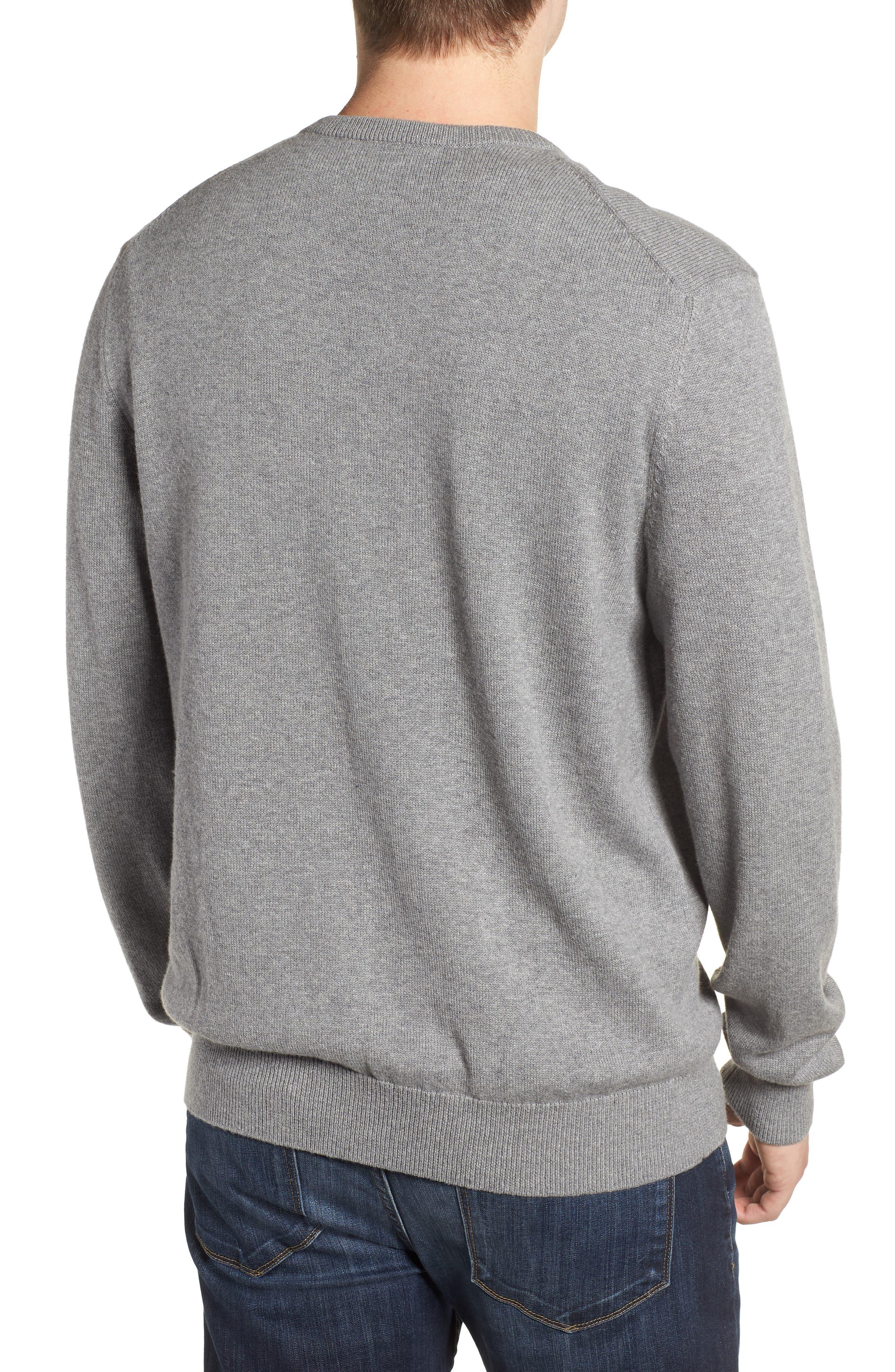 Cotton & Cashmere V-Neck Sweater,                             Alternate thumbnail 2, color,                             GRAY HEATHER