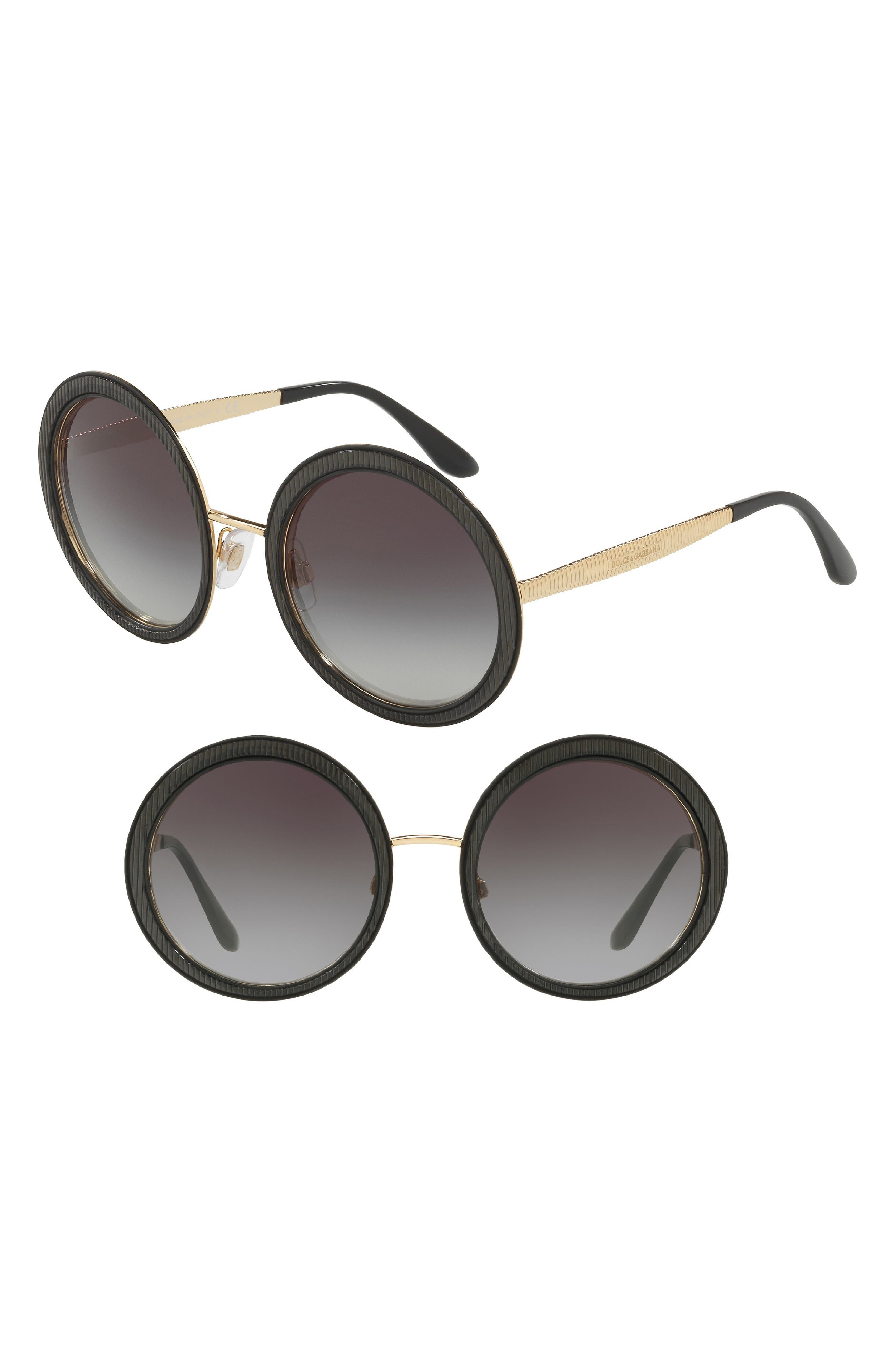 54mm Gradient Round Sunglasses,                         Main,                         color, 001