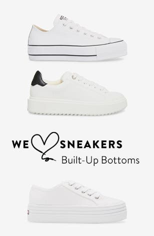 We Love Sneakers: white platform sneakers from Converse and Steve Madden.