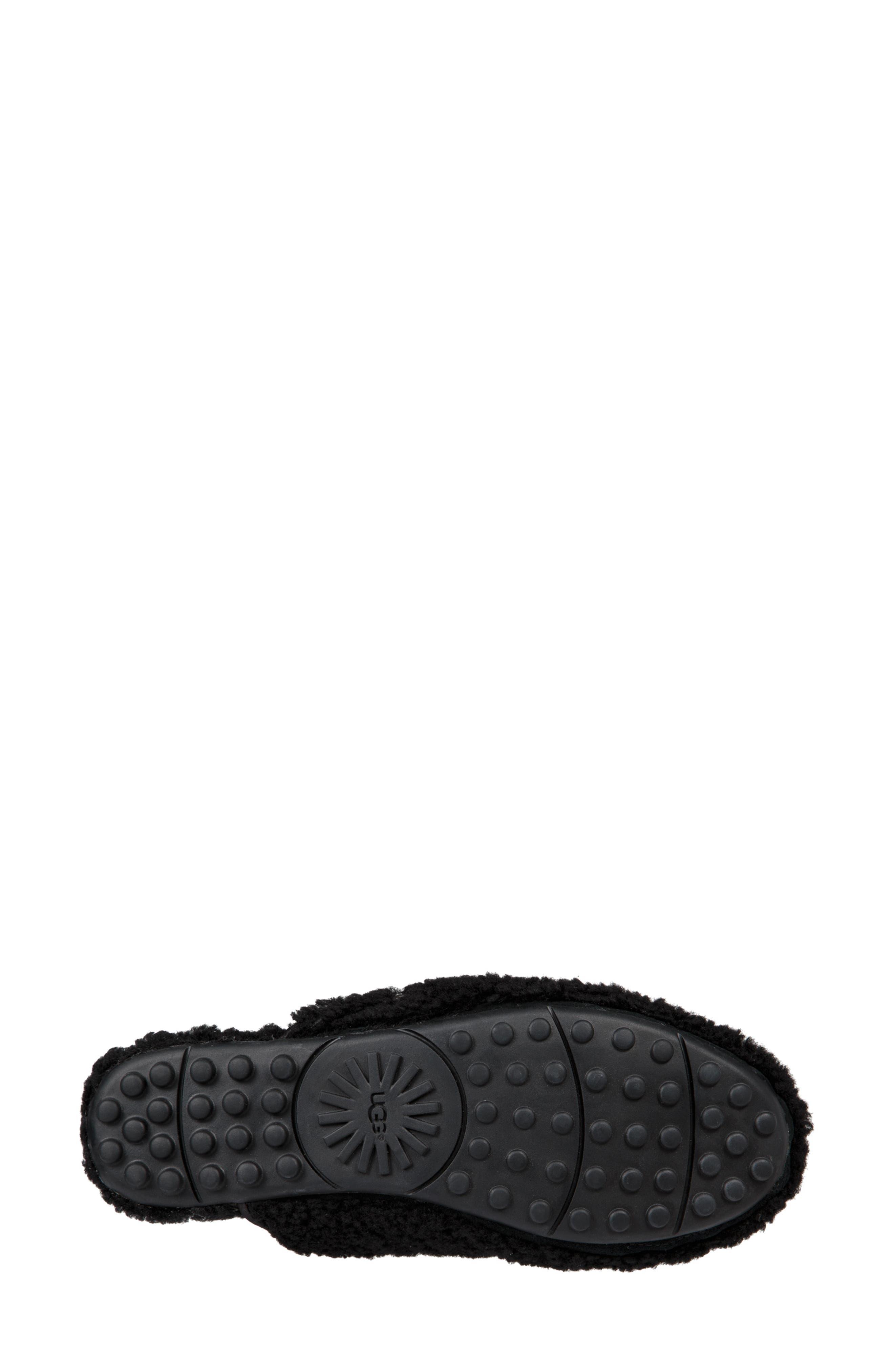 Lane Fluff Genuine Shearling Loafer Slipper,                             Alternate thumbnail 5, color,                             BLACK