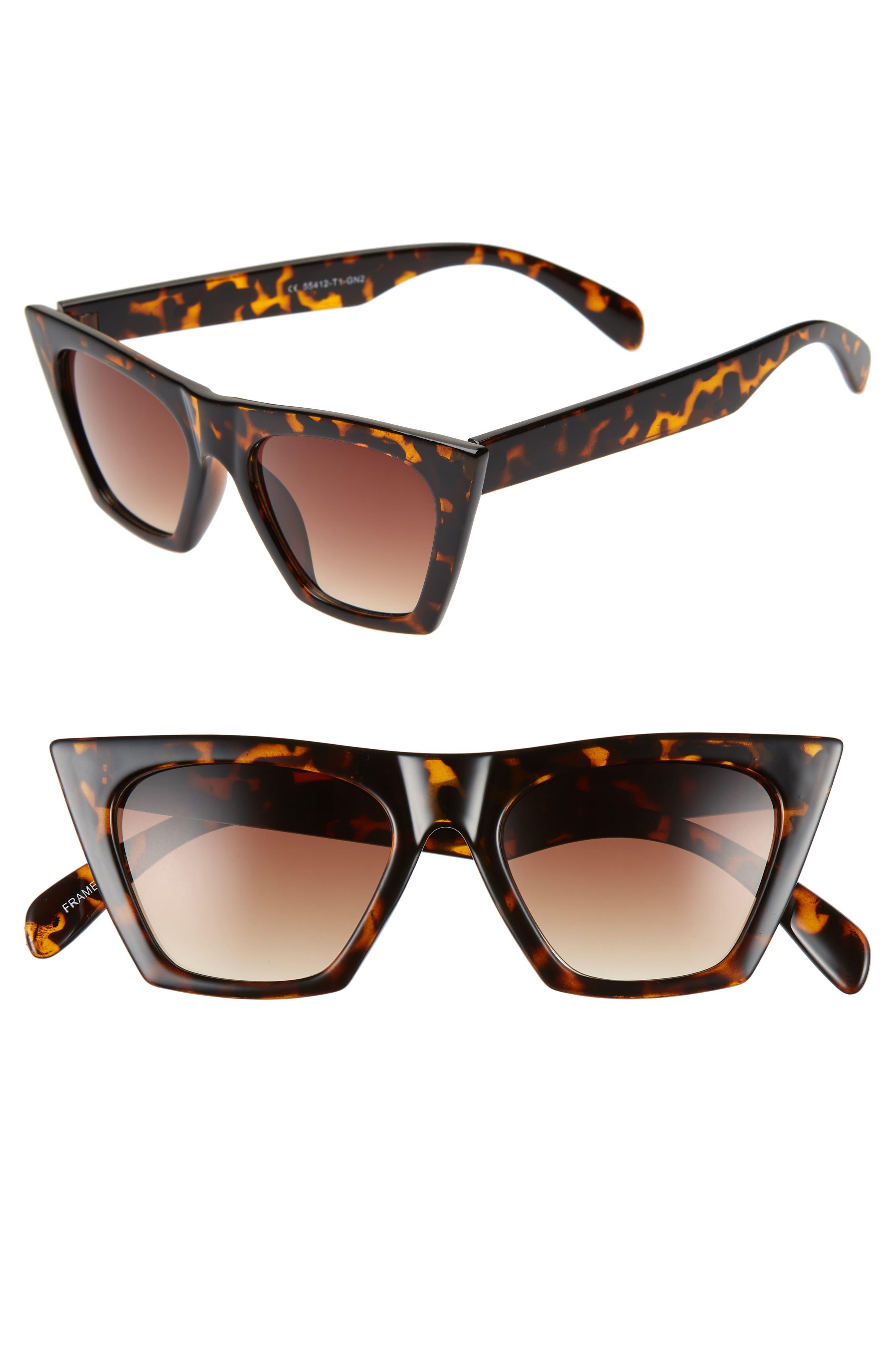 50mm Square Cat Eye Sunglasses,                             Main thumbnail 1, color,                             TORTOISE