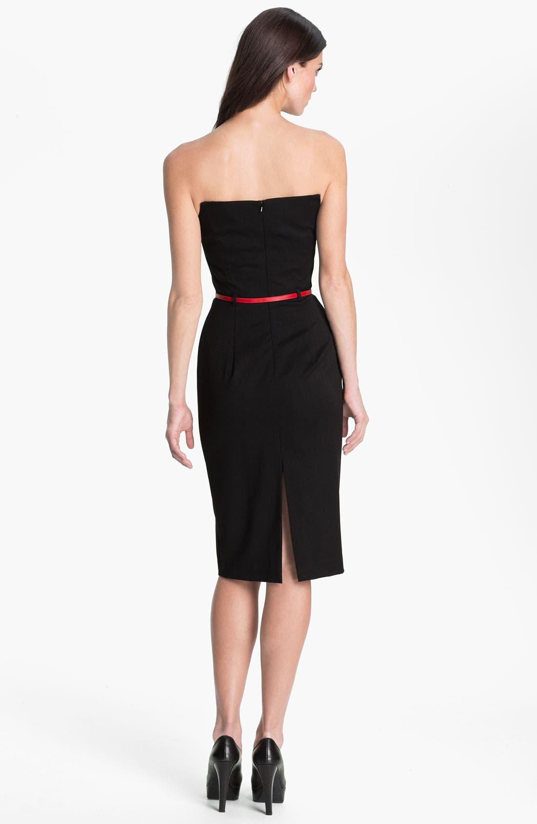 'Lena' Notch Neck Belted Sheath Dress,                             Alternate thumbnail 2, color,                             001