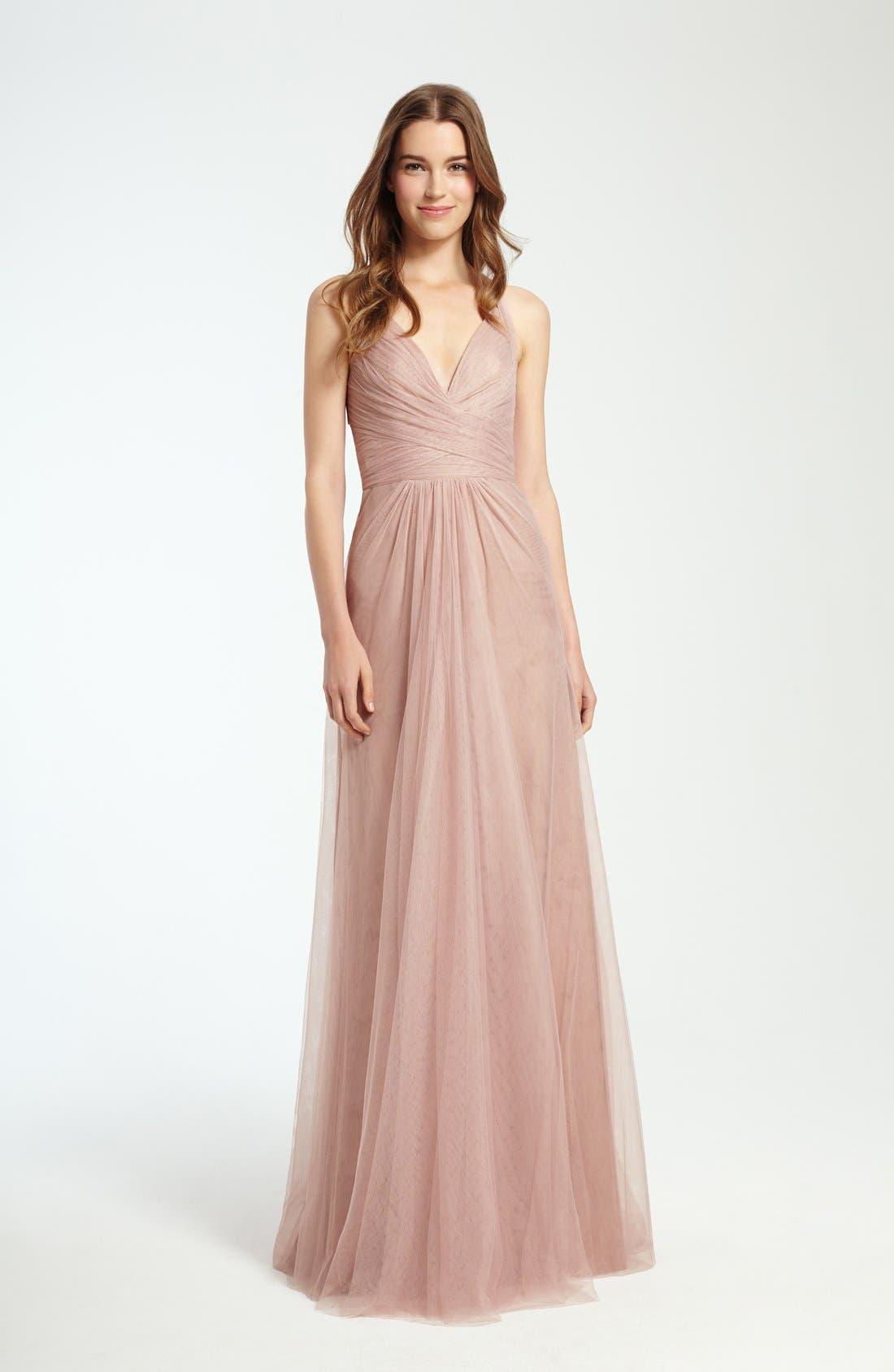 Sleeveless V-Neck Tulle Gown,                             Alternate thumbnail 9, color,