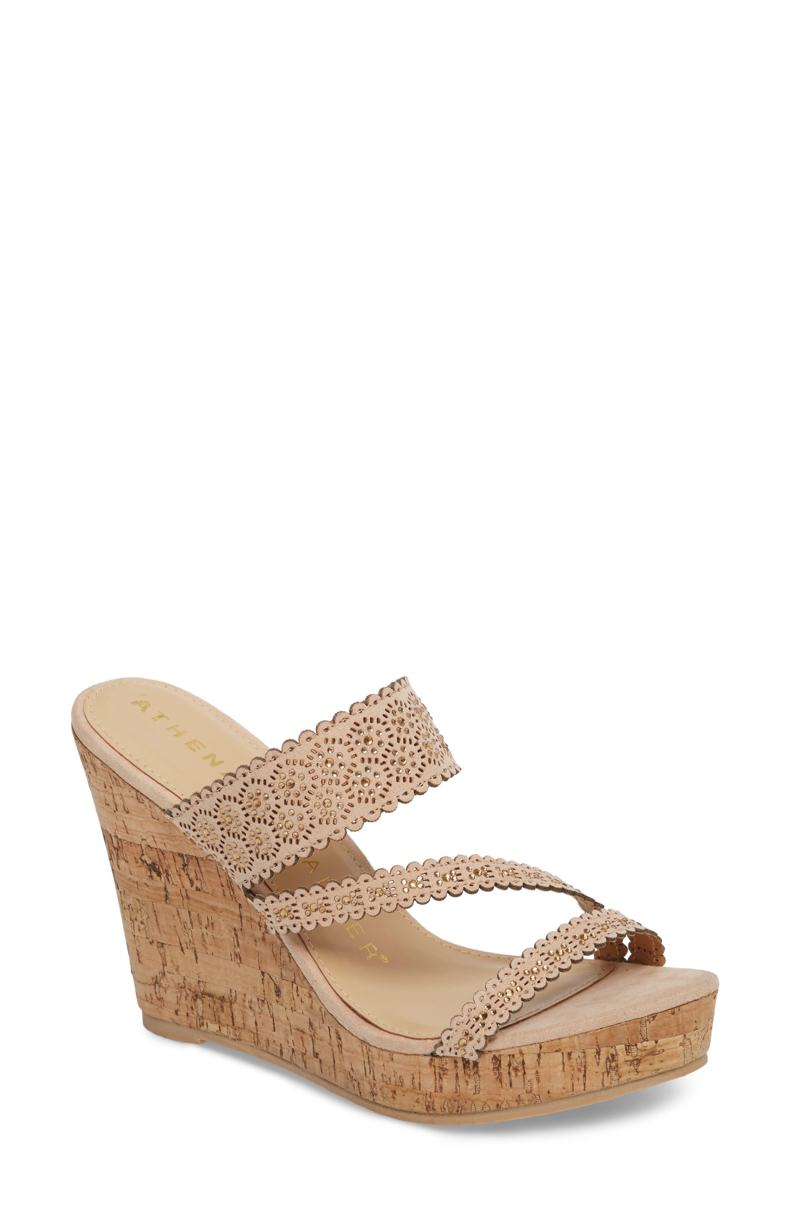 Athena Alexander Aerin Embellished Wedge Sandal, Pink