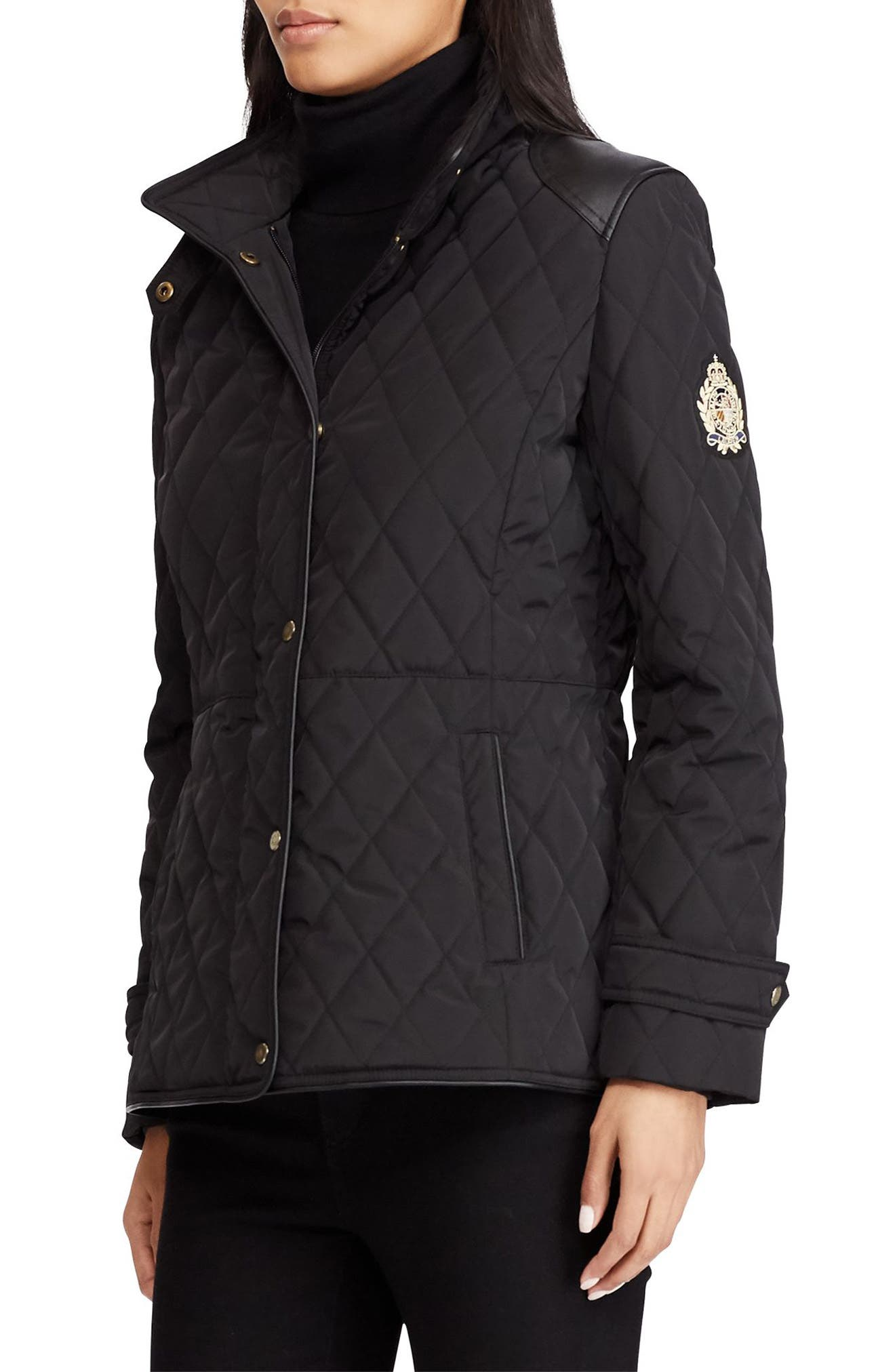 Quilted Faux Leather Trim Jacket, Main, color, 001