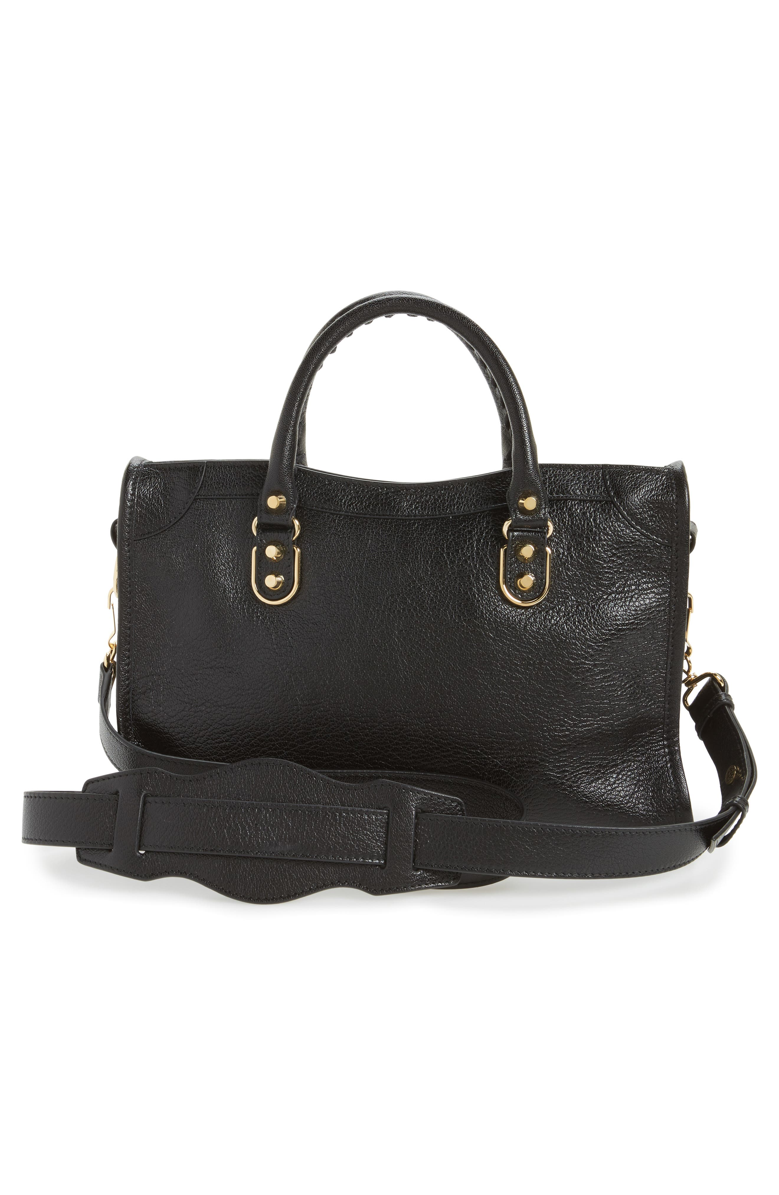 Small Classic Metallic Edge City Leather Tote,                             Alternate thumbnail 3, color,                             NOIR