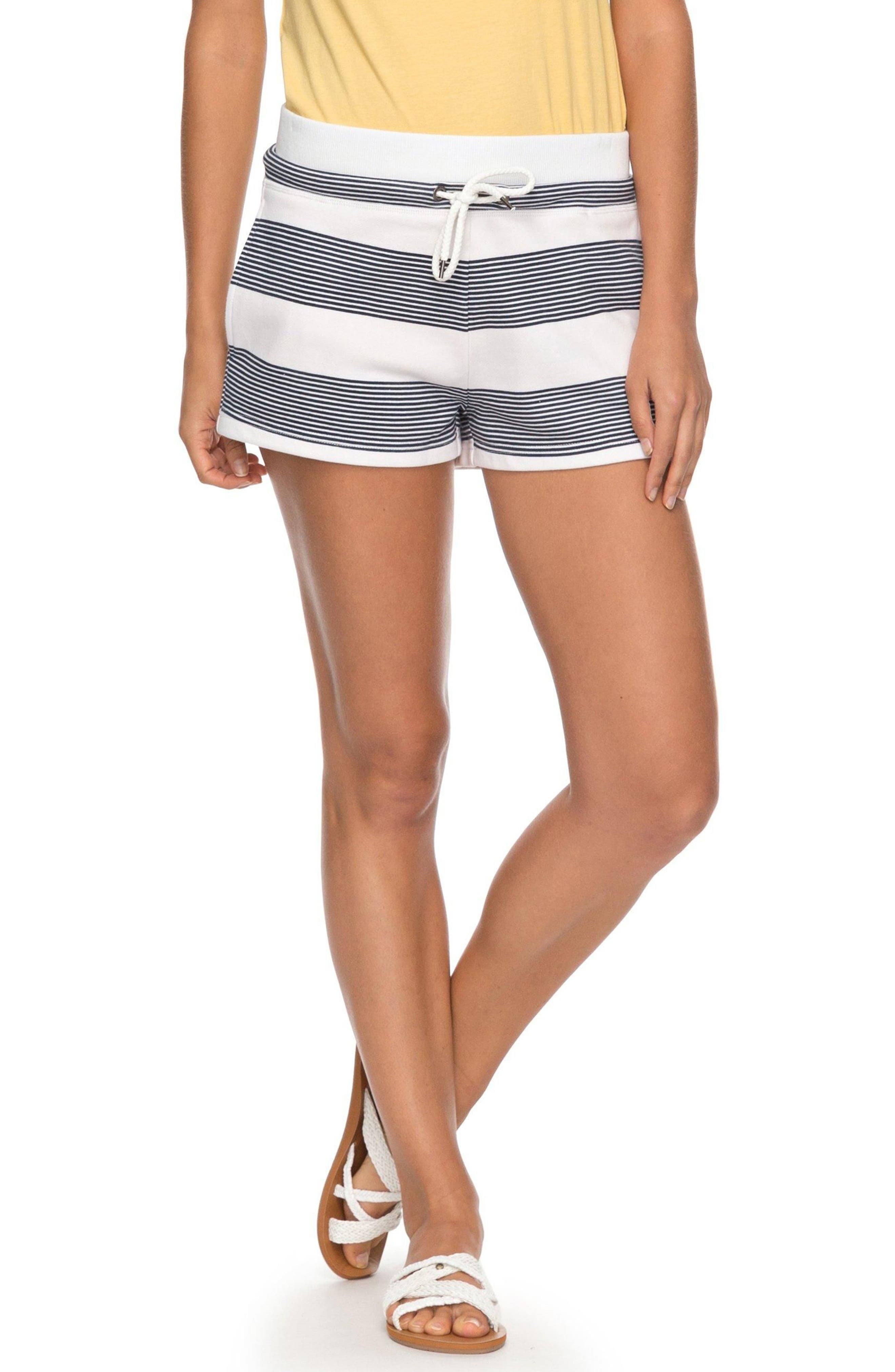 Away from Today Stripe Shorts,                             Main thumbnail 1, color,                             MARSHMALLOW DRESS BLUE DOCKER