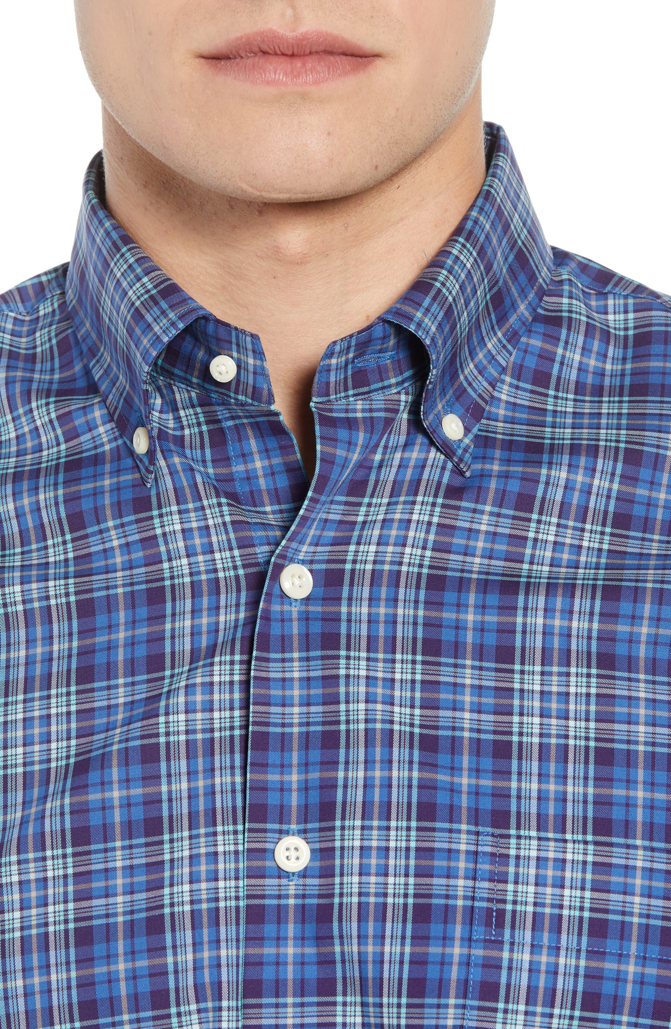 Crown Ease Flatey Island Regular Fit Tartan Plaid Sport Shirt,                             Alternate thumbnail 2, color,                             BLUE