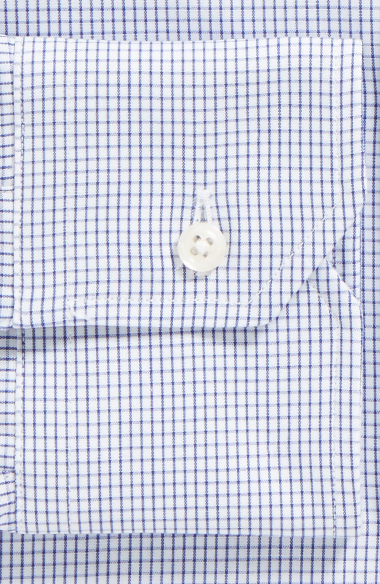Tailored Fit Gingham Dress Shirt,                             Alternate thumbnail 3, color,                             NAVY