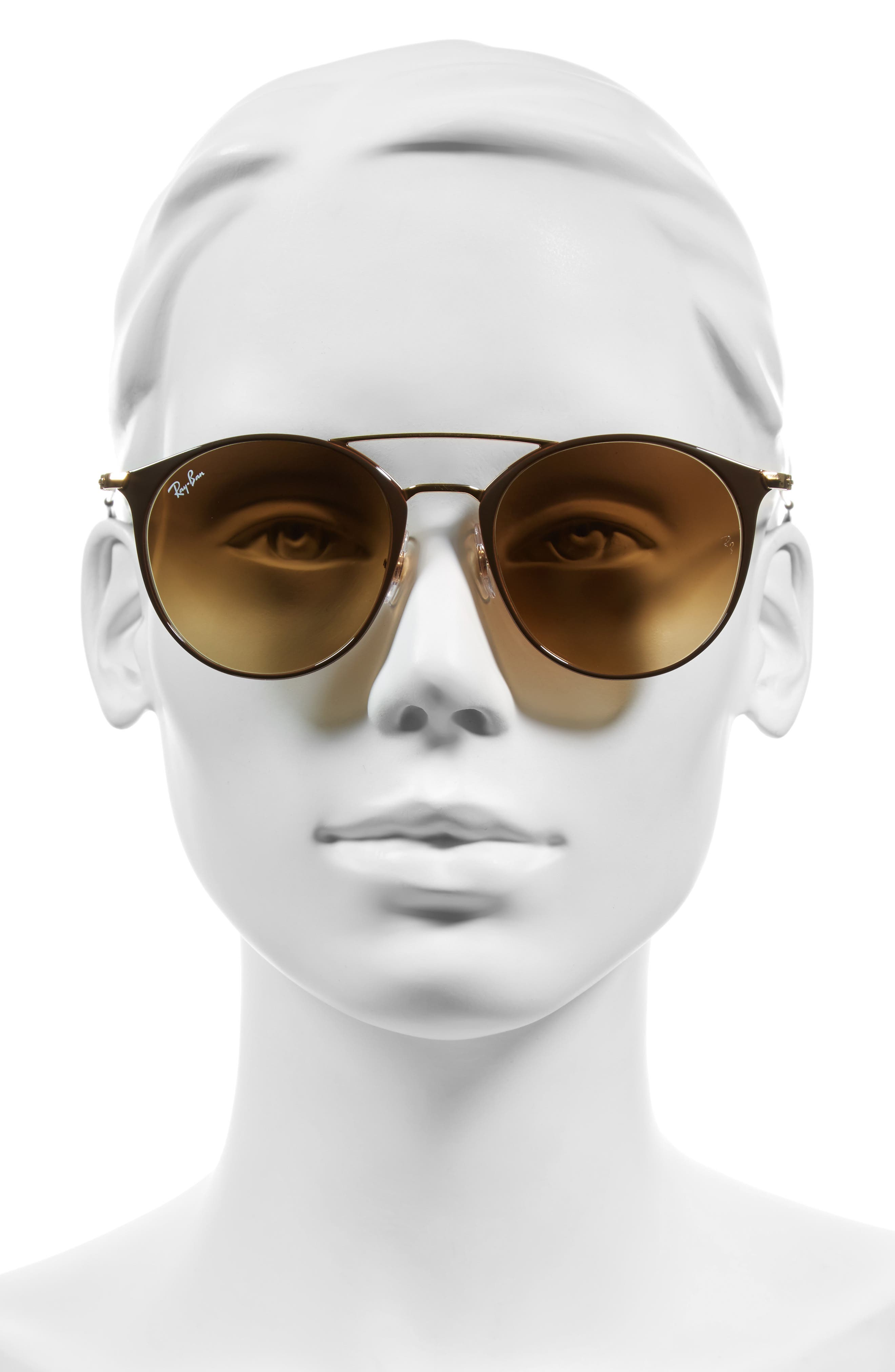 Highstreet 52mm Round Brow Bar Sunglasses,                             Alternate thumbnail 2, color,                             BROWN/ GOLD