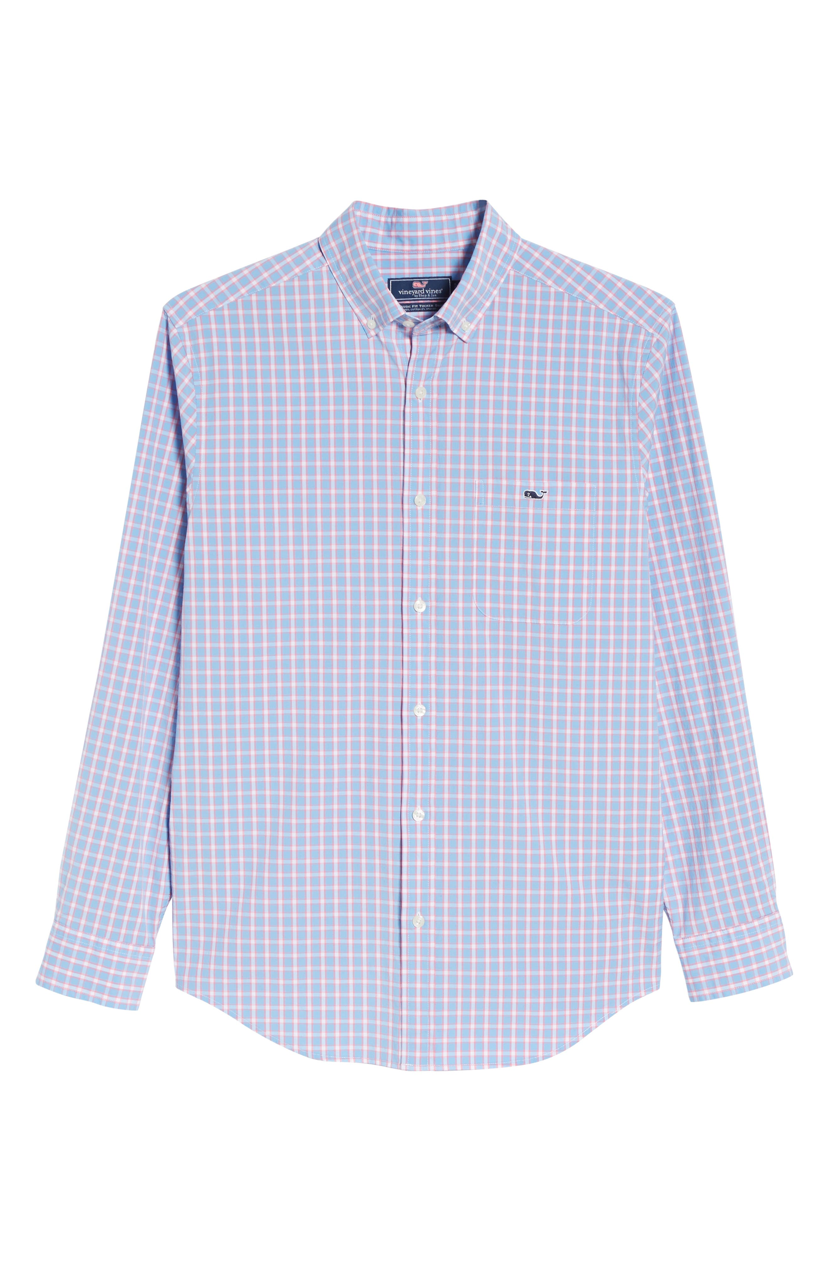 Harlock Pond Plaid Classic Fit Sport Shirt,                             Alternate thumbnail 6, color,                             OCEAN BREEZE