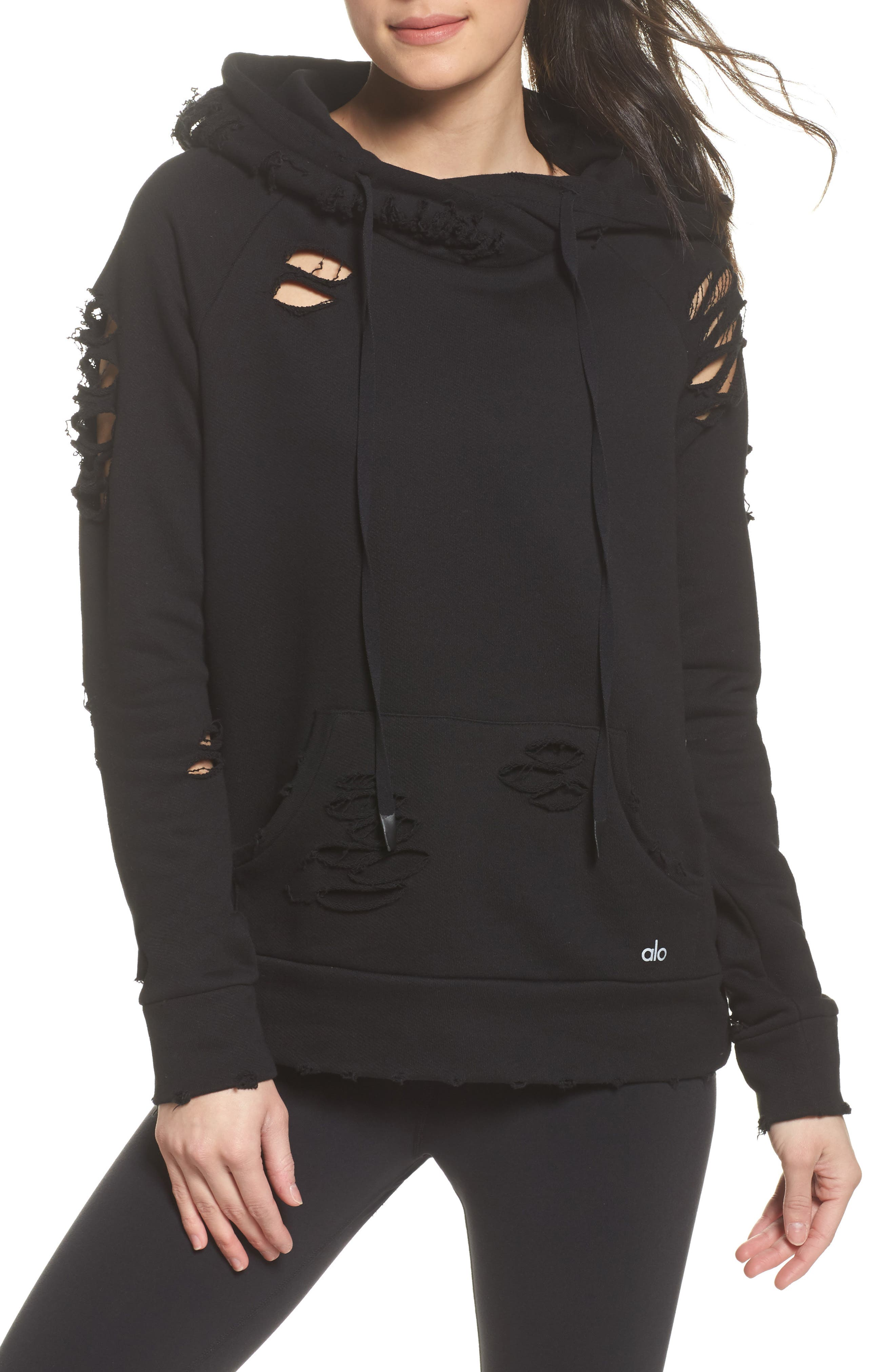 Ripped Hoodie,                         Main,                         color, BLACK/ DISTRESSED HOLES