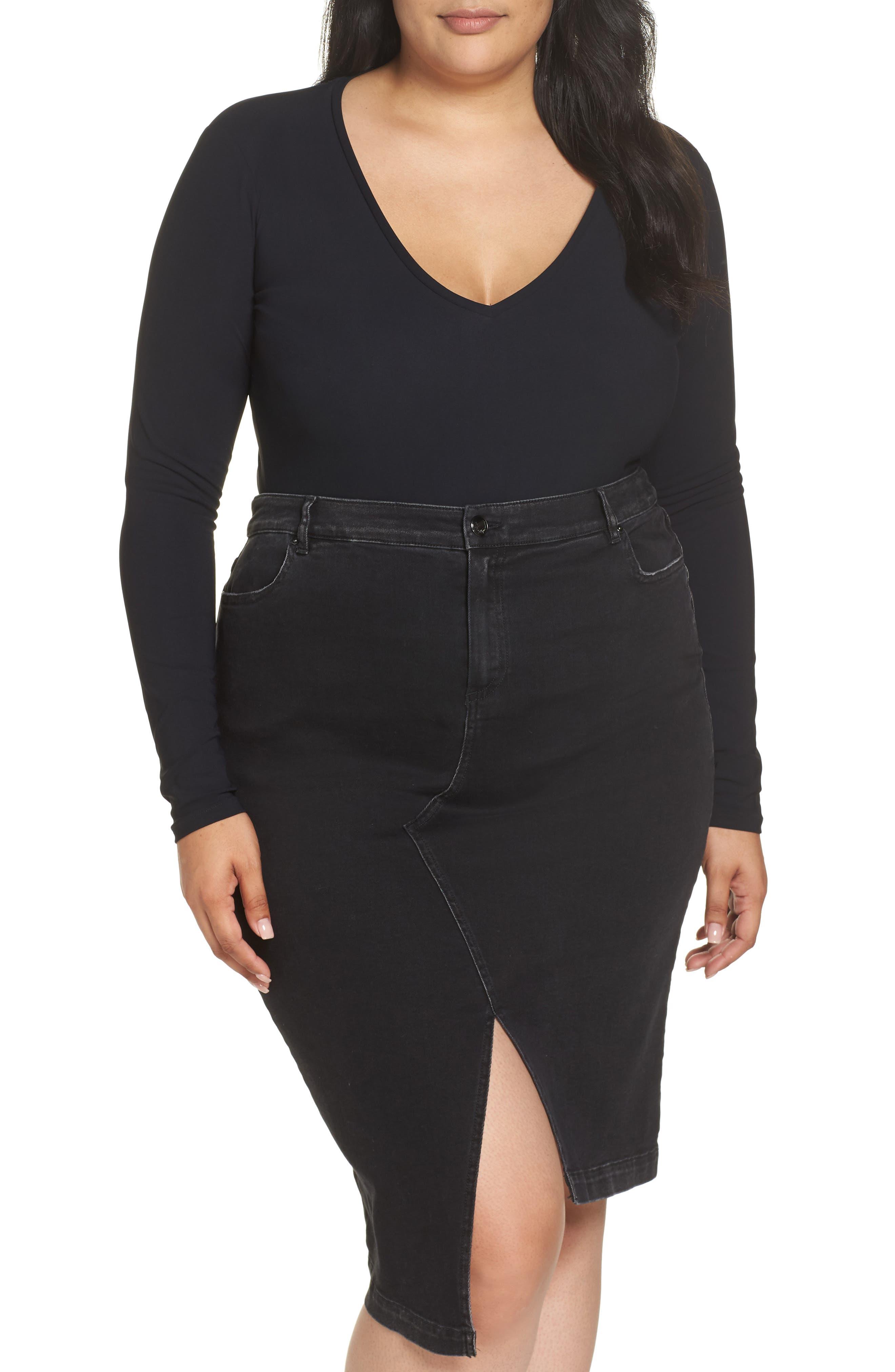 ASHLEY GRAHAM X MARINA RINALDI Zaffera Bodysuit in Black