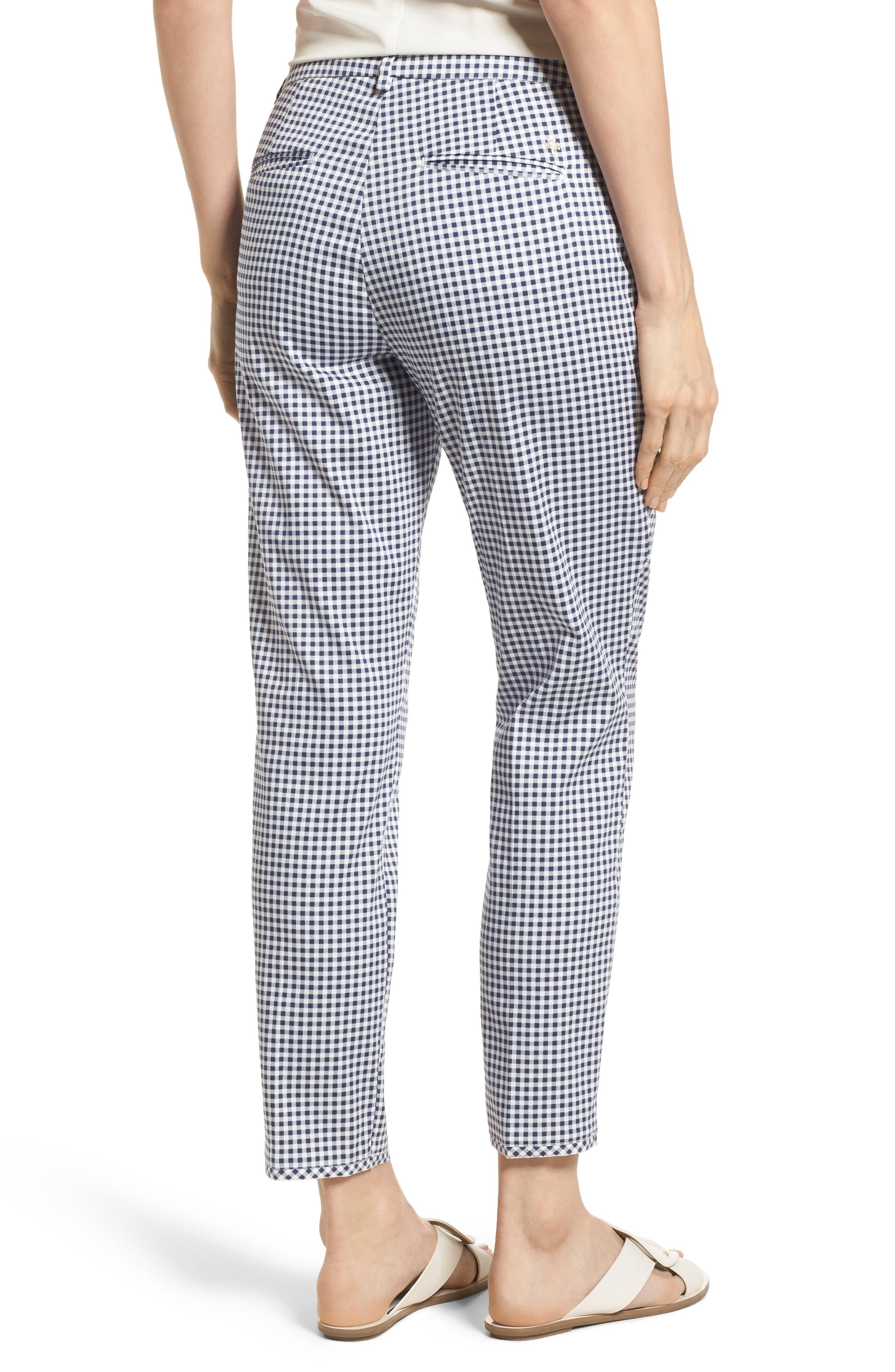 Maron Gingham Stretch Cotton Pants,                             Alternate thumbnail 2, color,                             OCEAN