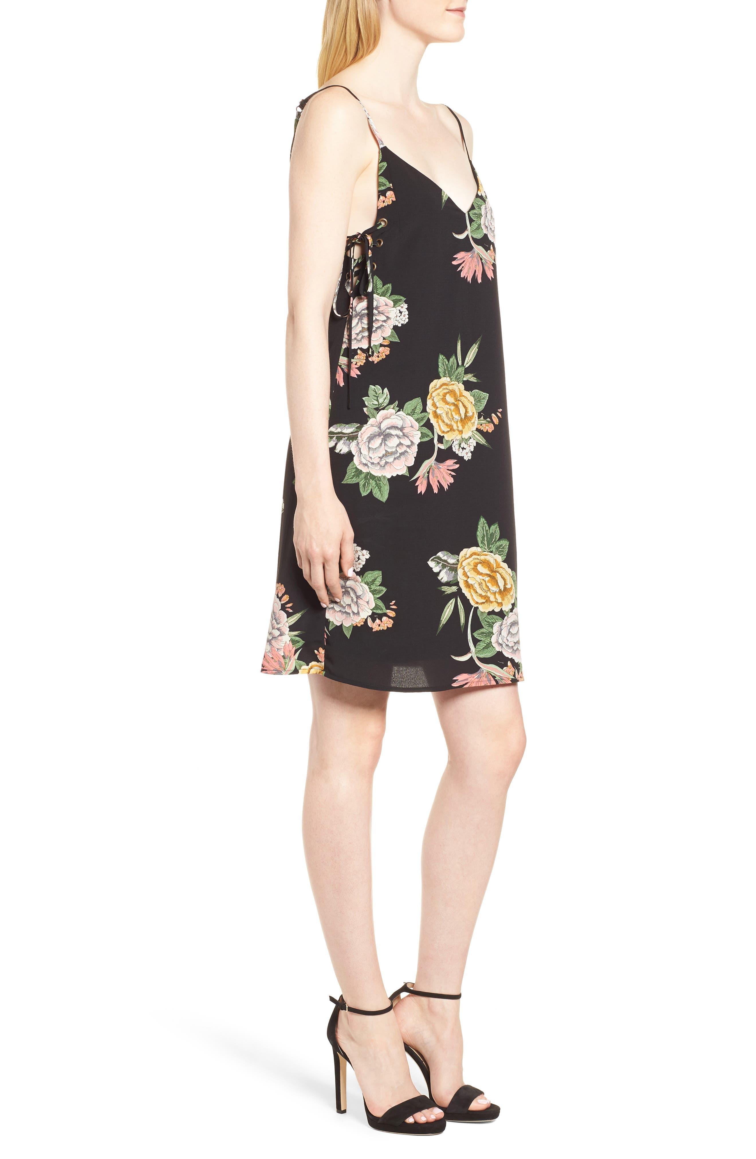 Enchanted Garden Lace-Up Dress,                             Alternate thumbnail 3, color,                             ENCHANTED GARDEN PRINT