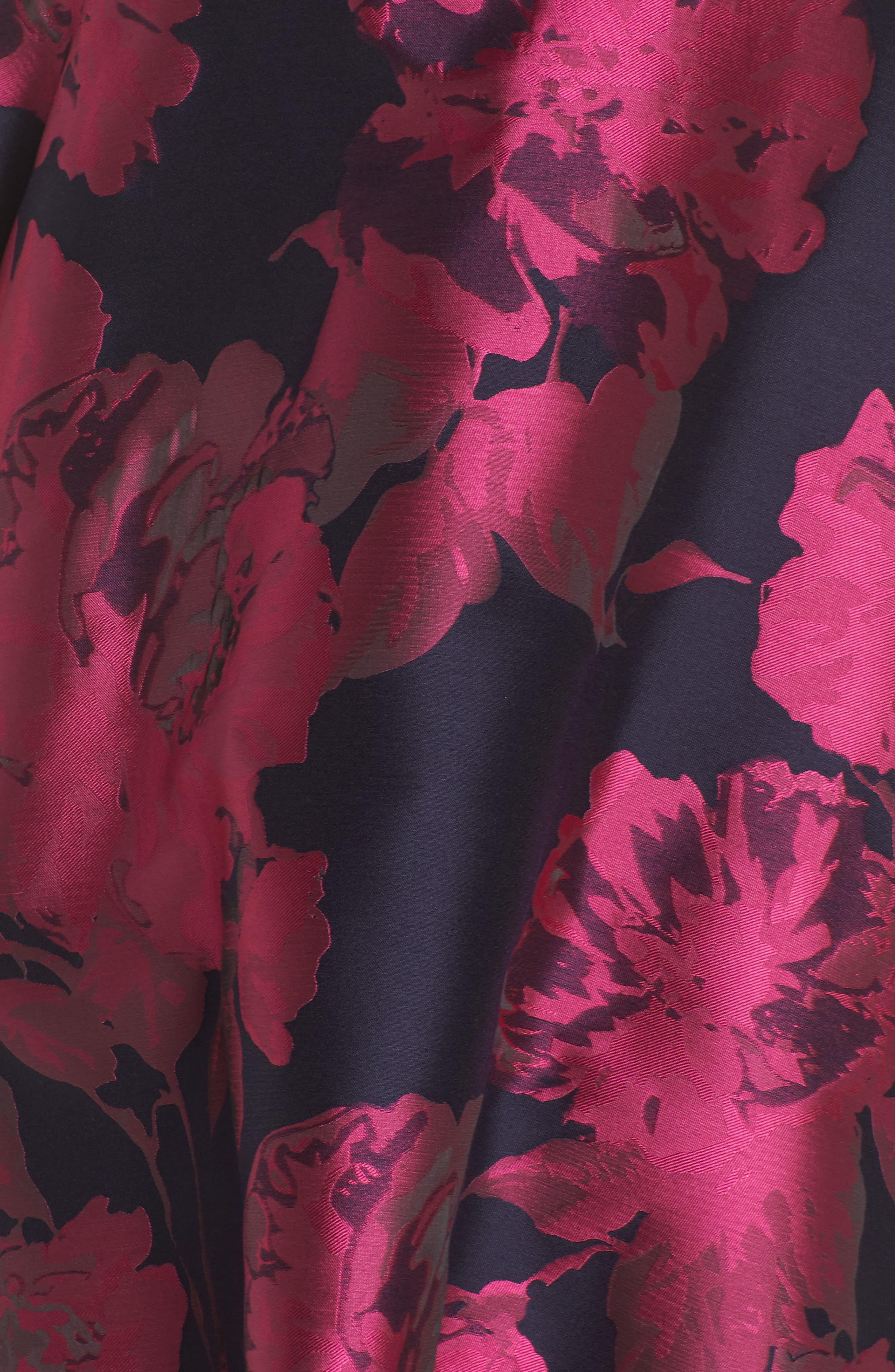 Floral Brocade Fit & Flare Dress,                             Alternate thumbnail 5, color,                             NAVY/ FUCHSIA