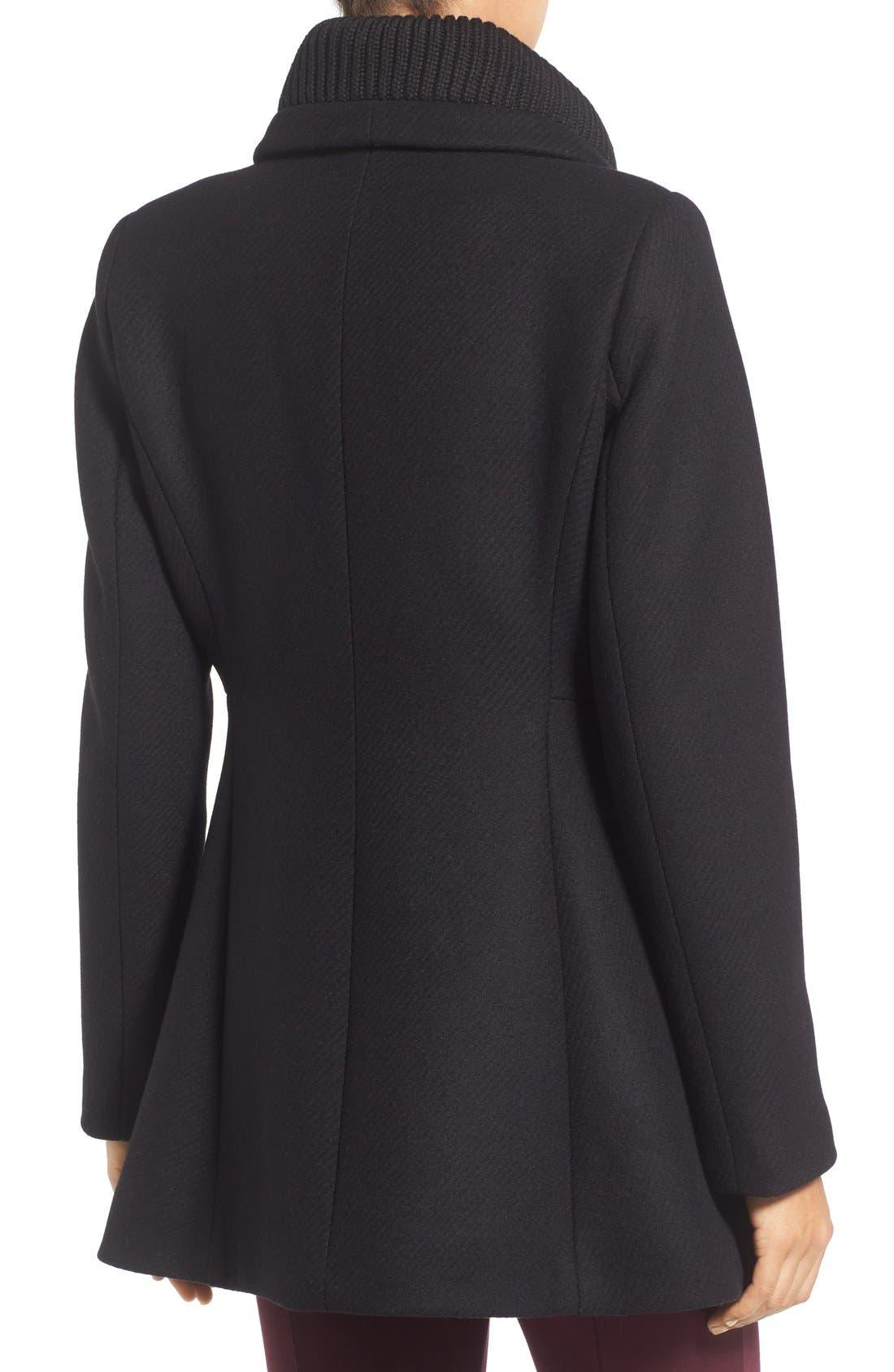 'Maddi' Knit Collar Cutaway Wool Blend Coat,                             Alternate thumbnail 2, color,                             001