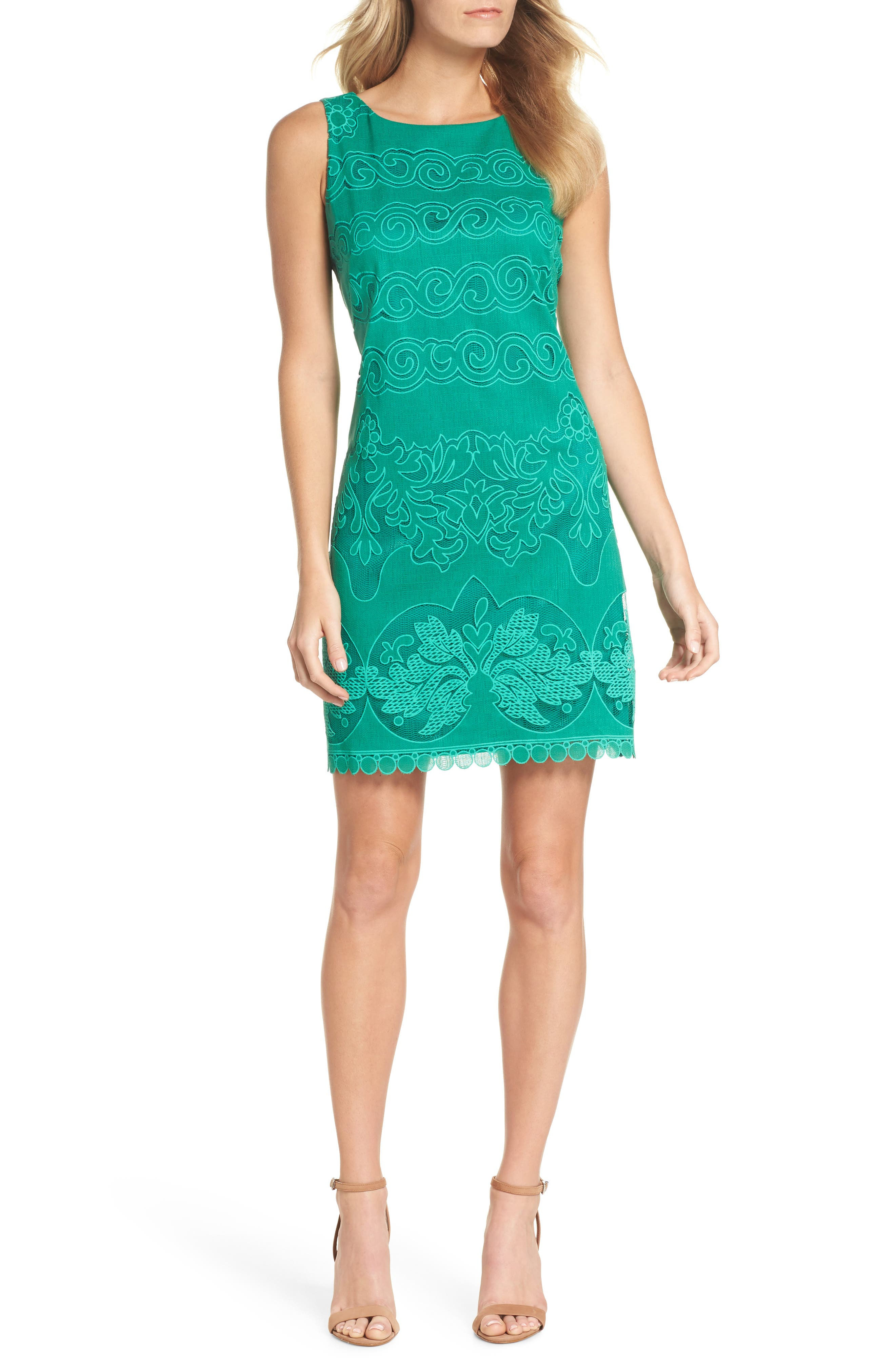 A-Line Dress,                             Main thumbnail 1, color,                             GREEN