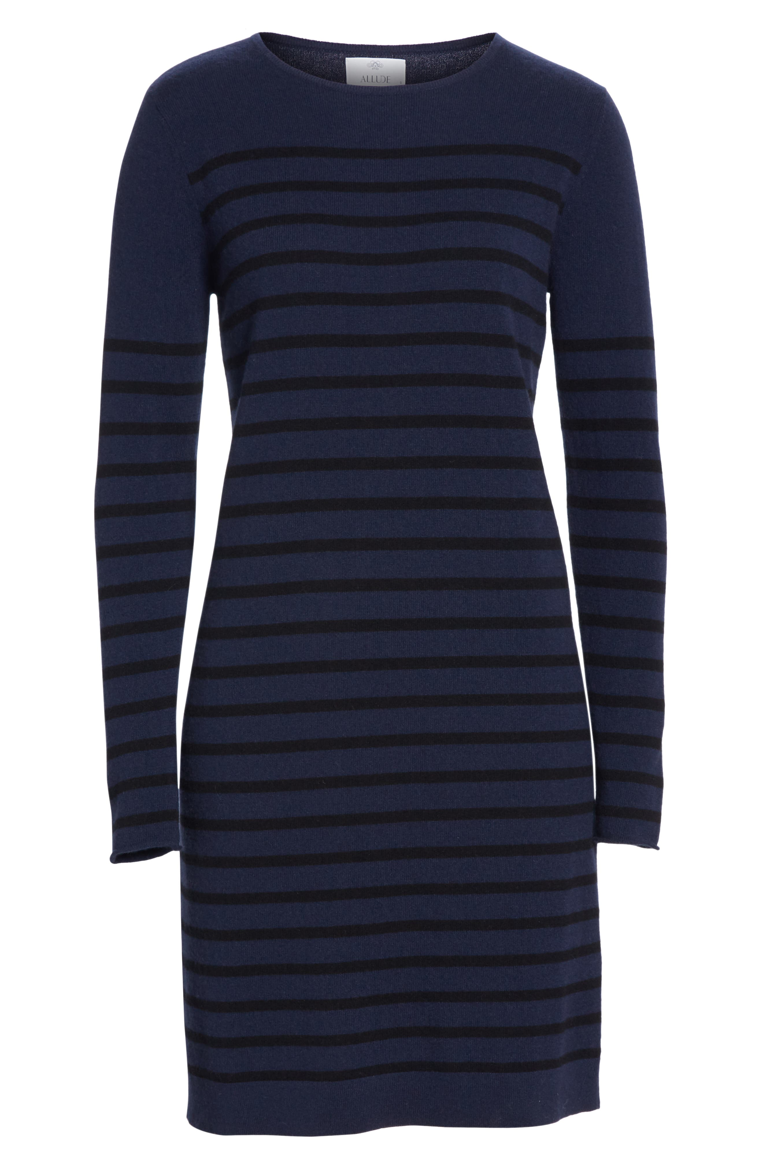 Stripe Wool & Cashmere Sweater Dress,                             Alternate thumbnail 7, color,                             NAVY/ BLACK