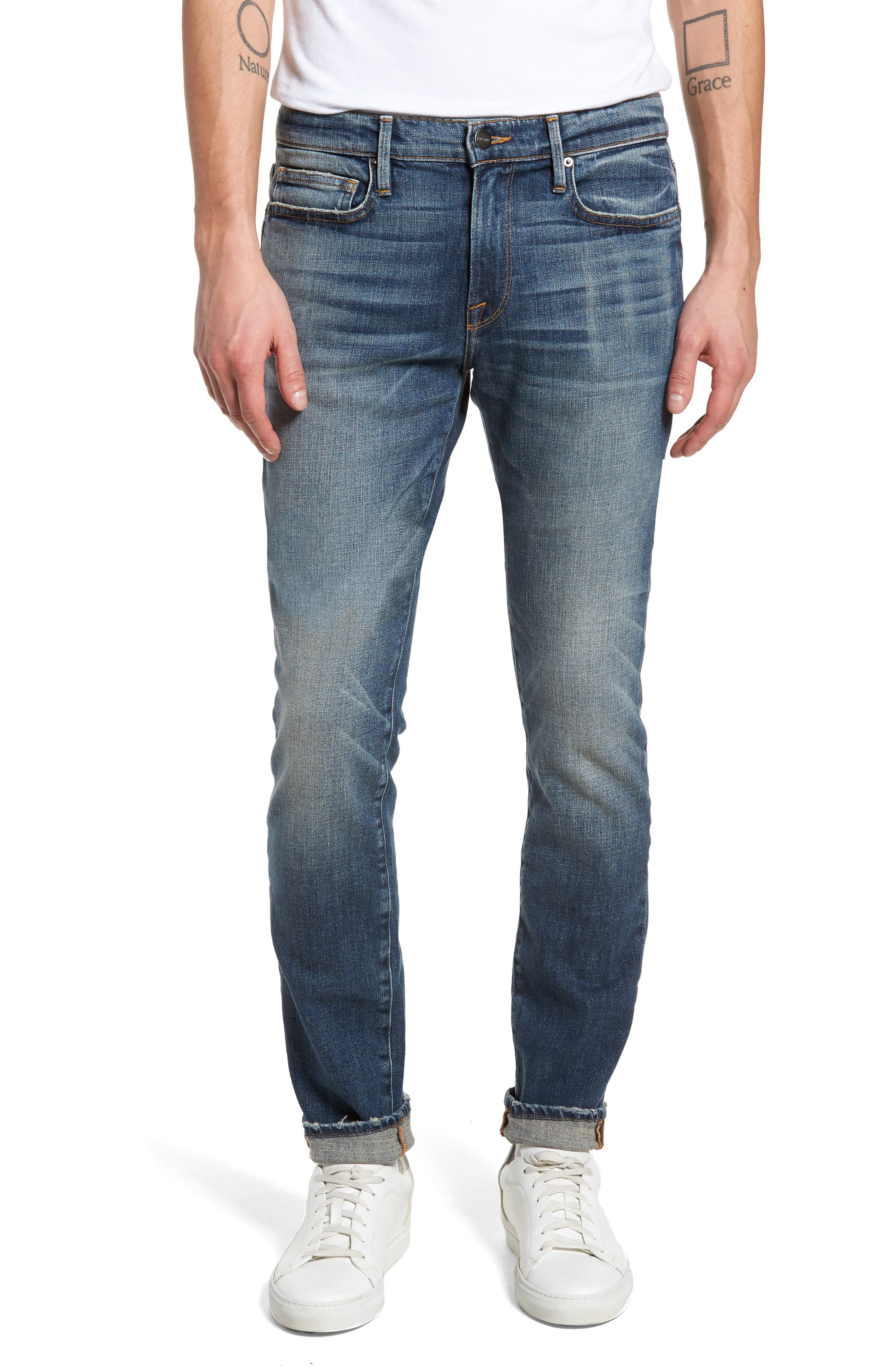 L'Homme Skinny Fit Jeans,                             Main thumbnail 1, color,                             405