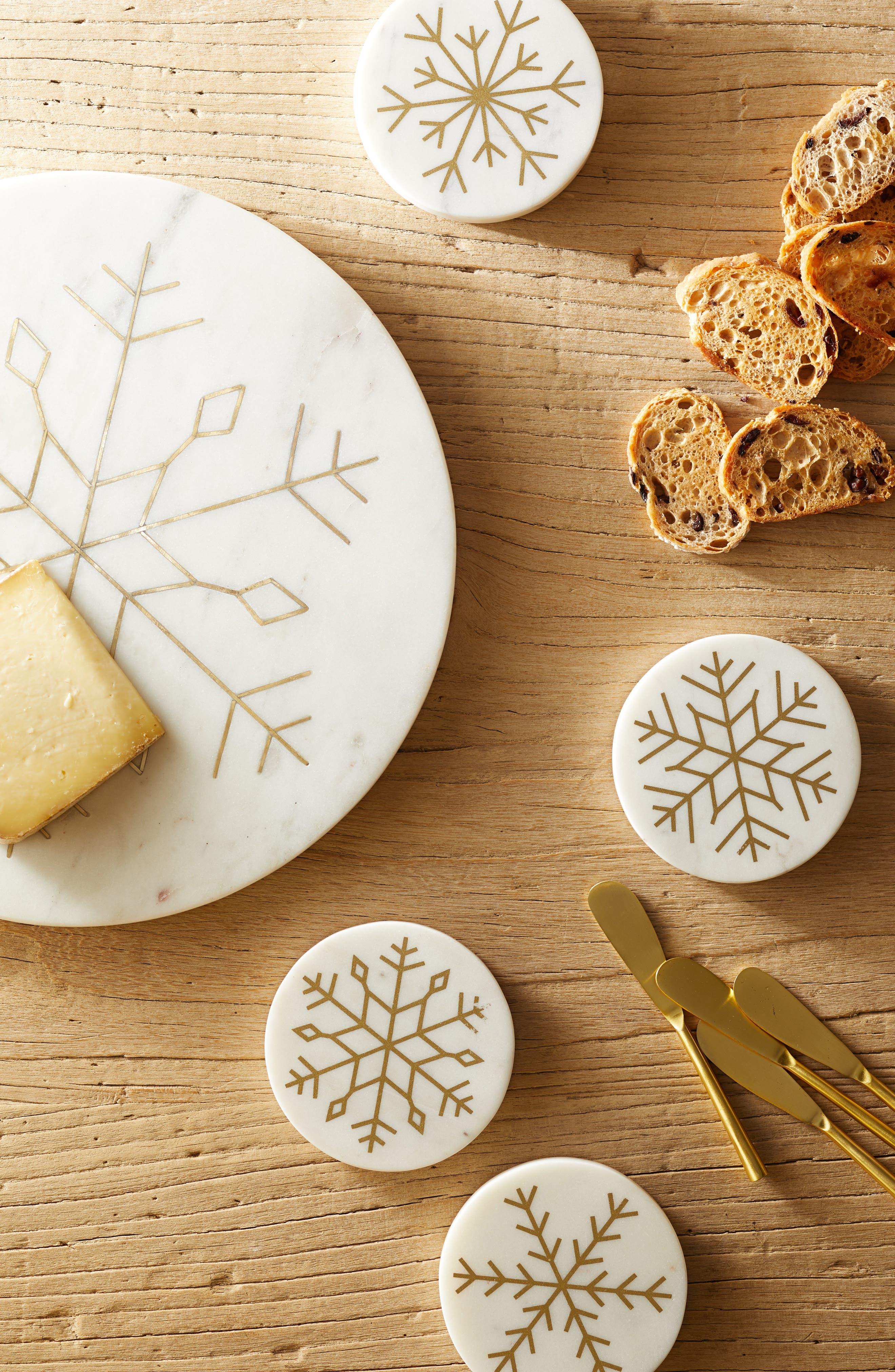 Snowflake Set of 4 Marble Coasters,                             Alternate thumbnail 2, color,                             100