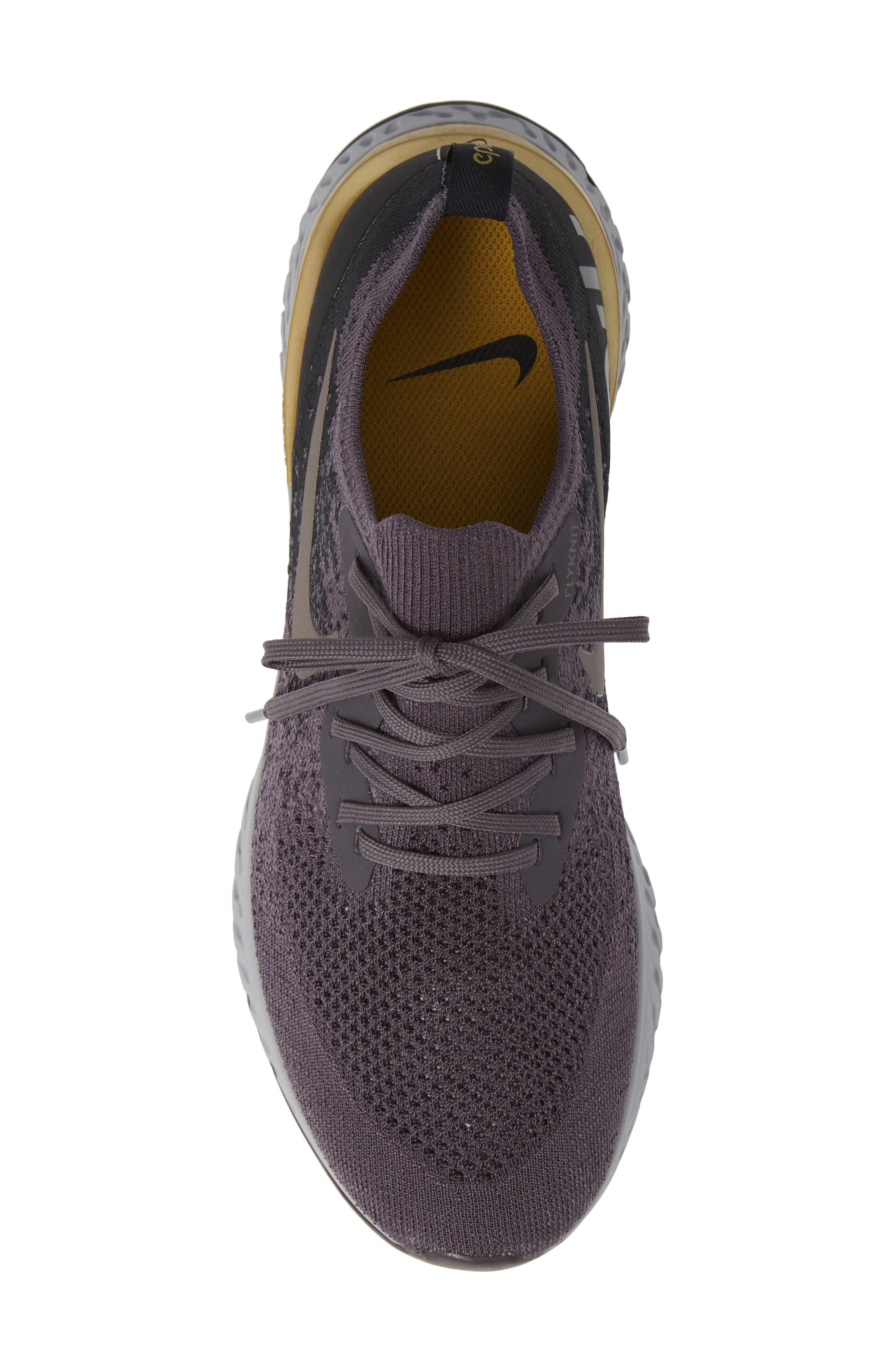 Epic React Flyknit Running Shoe,                             Alternate thumbnail 5, color,                             THUNDER GREY/ METALLIC PEWTER
