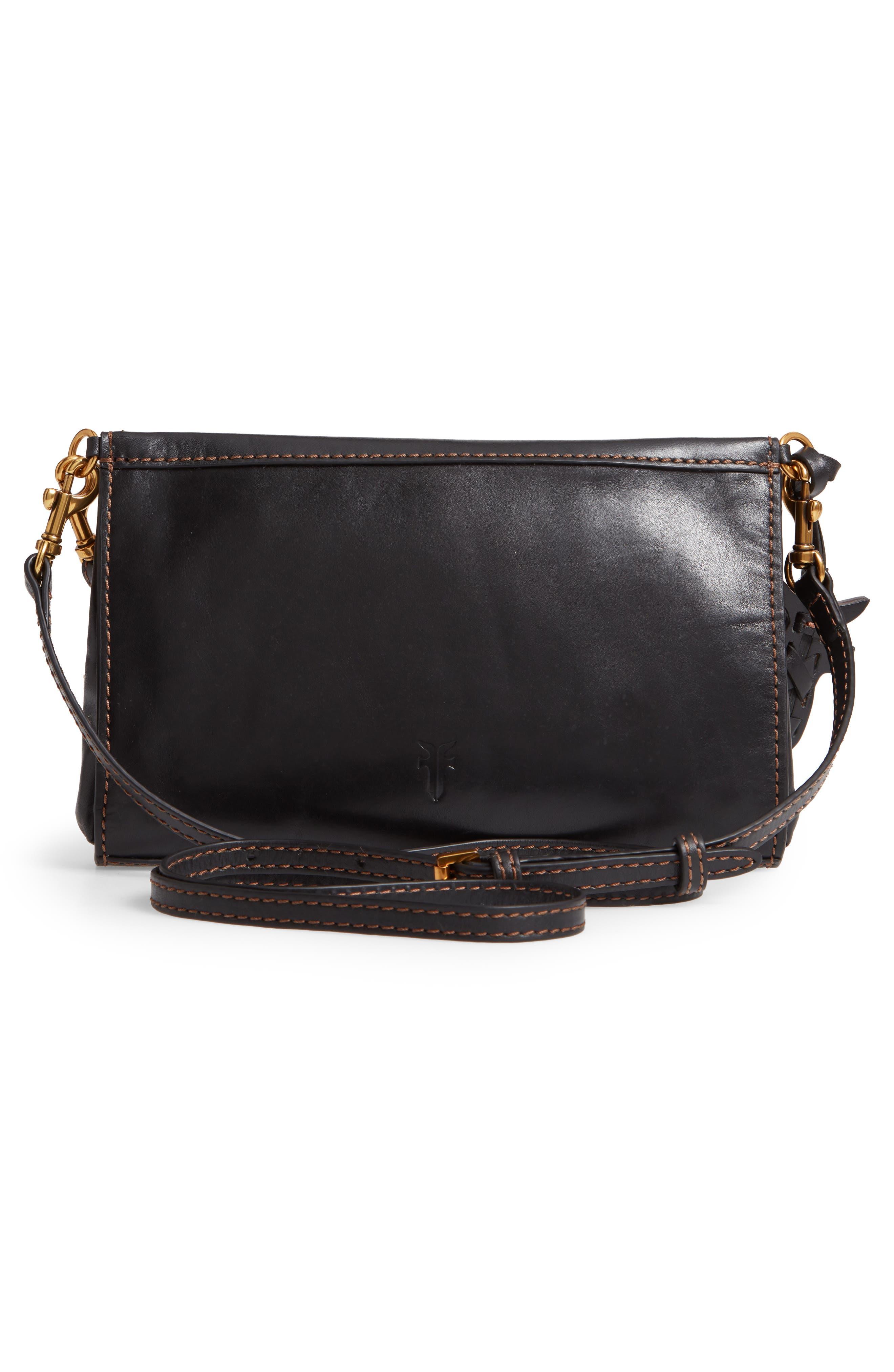 Carson Leather Wristlet/Clutch,                             Alternate thumbnail 3, color,                             BLACK