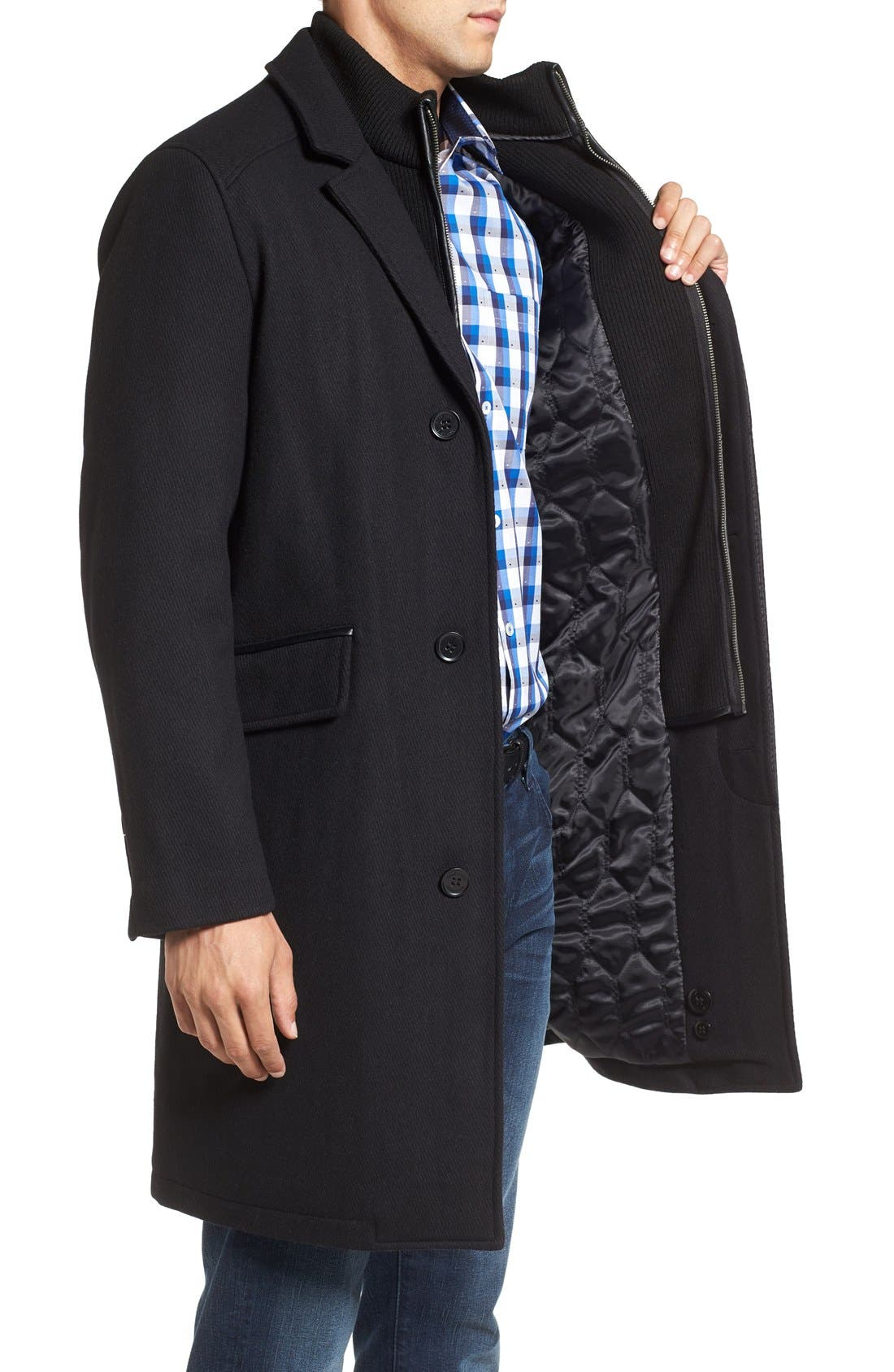 Wool Blend Overcoat with Knit Bib Inset,                             Alternate thumbnail 3, color,                             BLACK