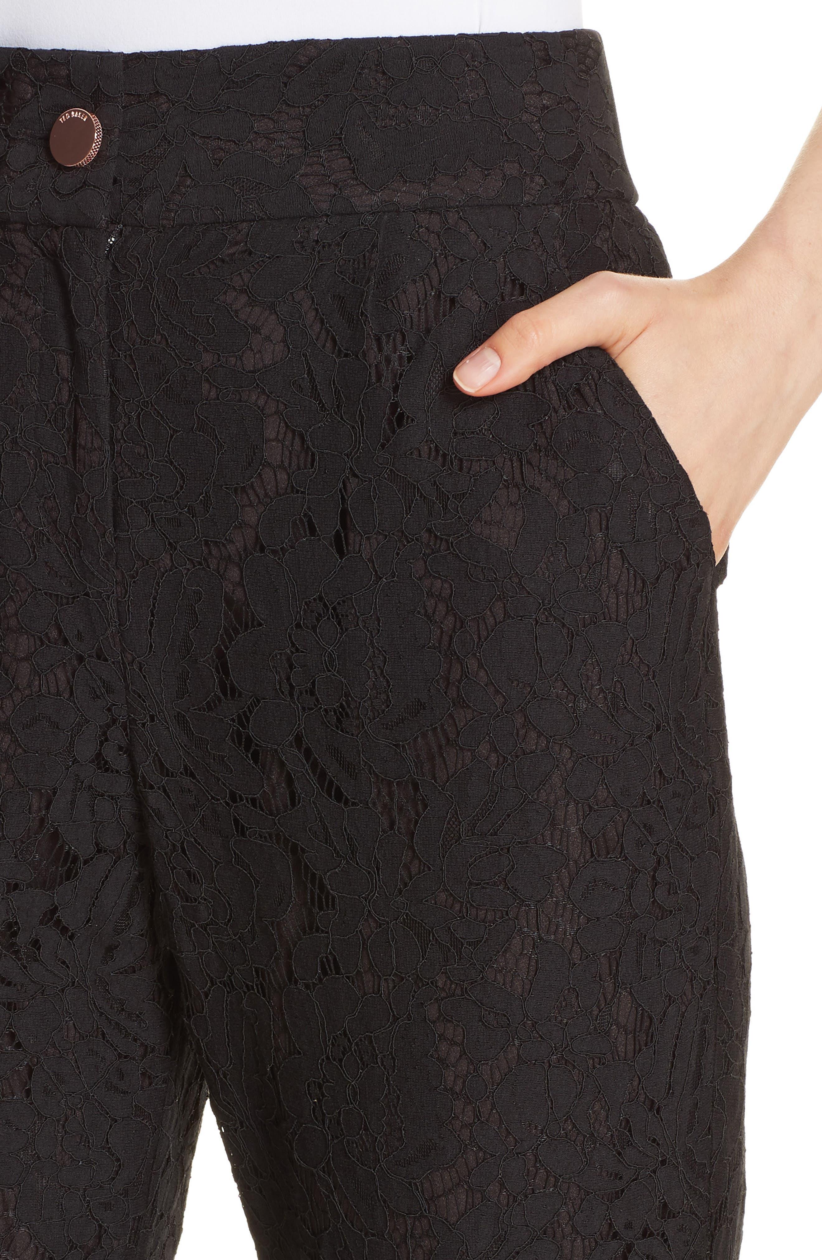 Cylar Lace Detail Formal Jogger Pants,                             Alternate thumbnail 4, color,                             BLACK