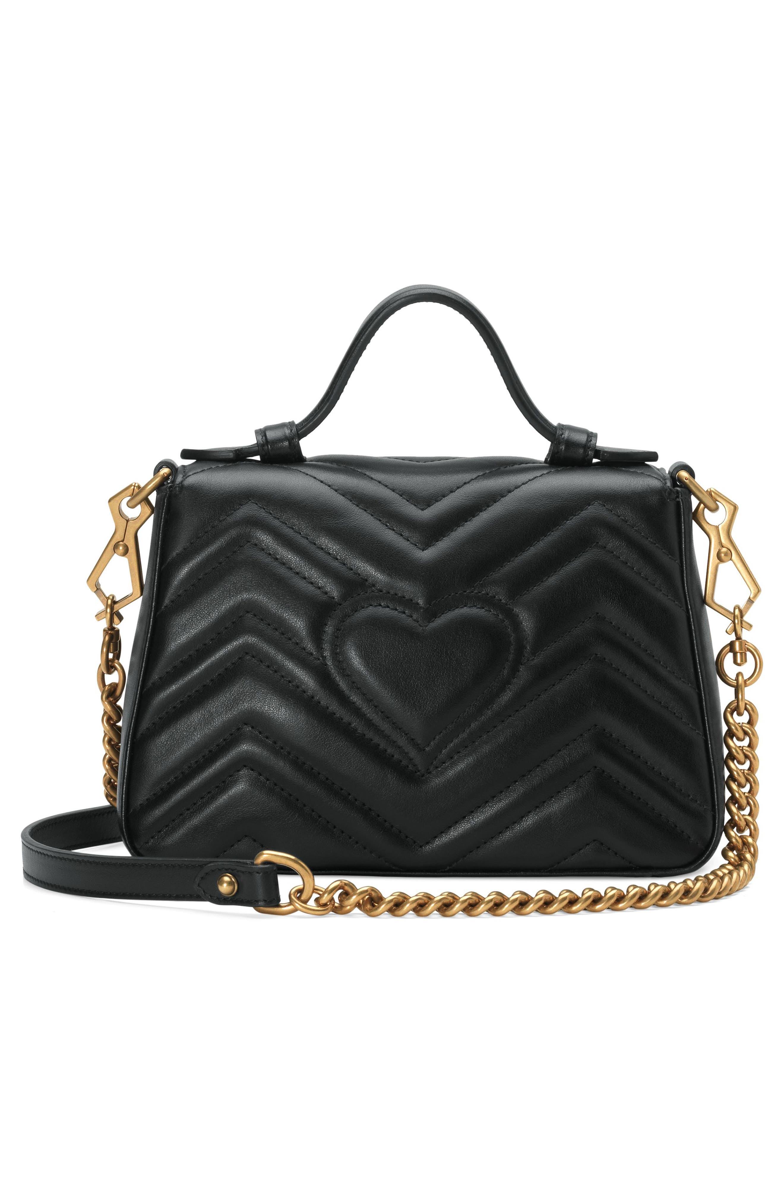 Marmont 2.0 Leather Top Handle Bag,                             Alternate thumbnail 2, color,                             NERO