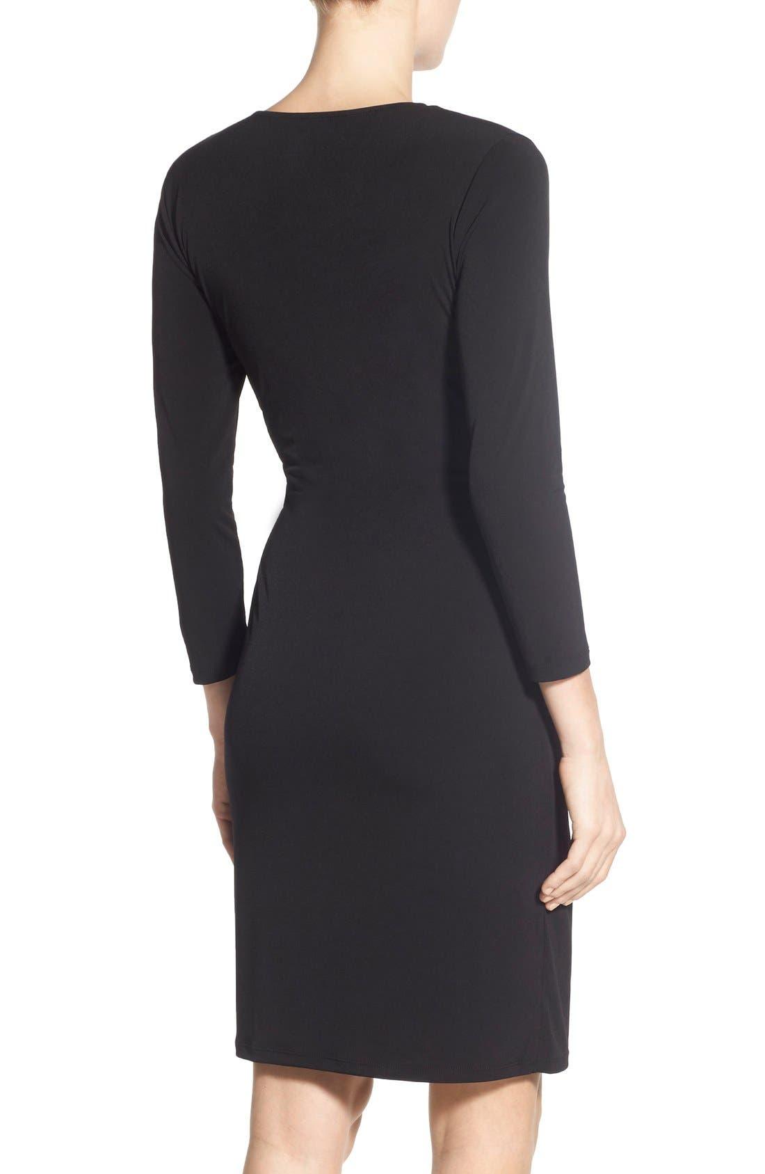 Jersey Faux Wrap Dress,                             Alternate thumbnail 4, color,                             001