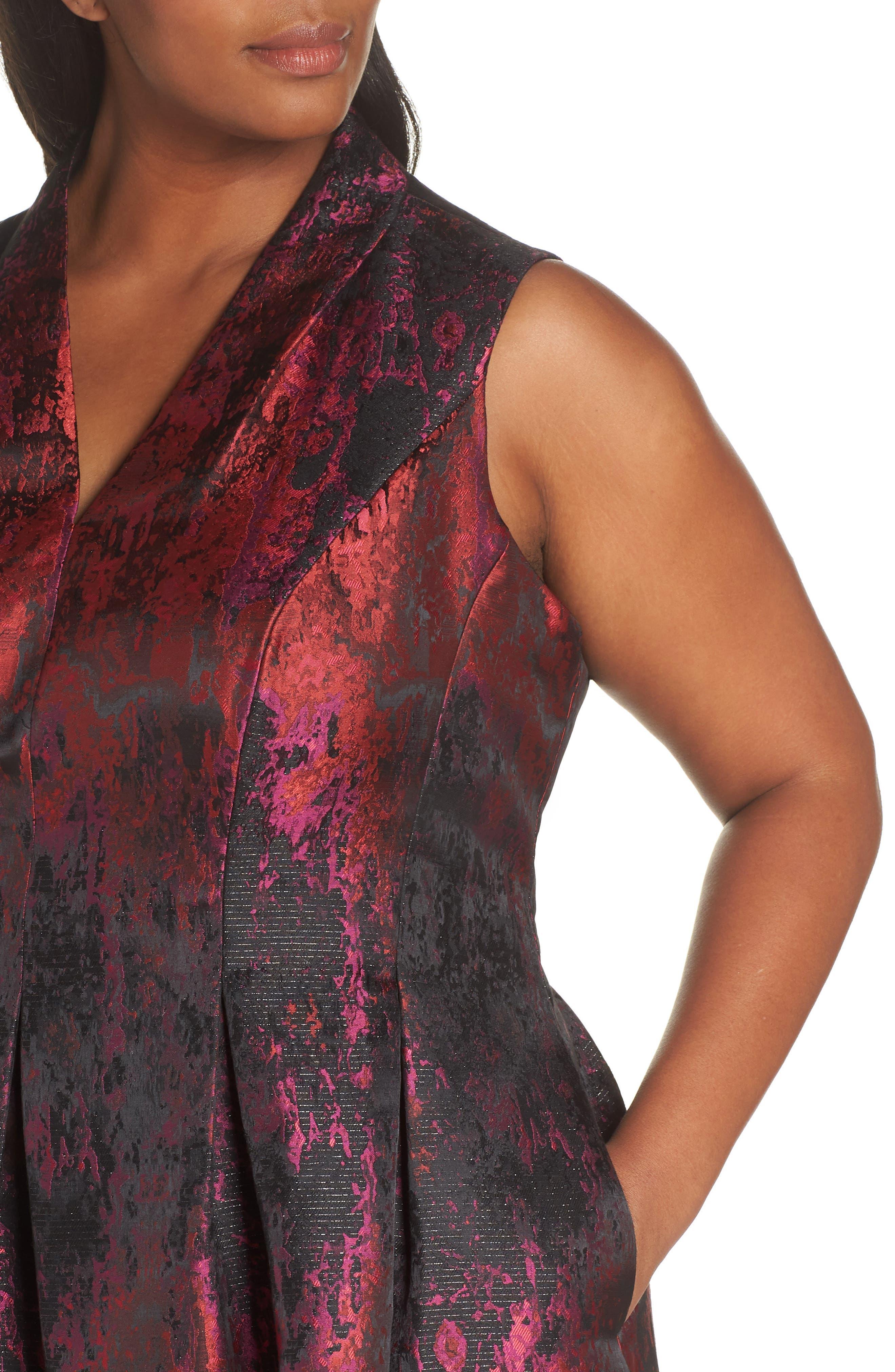 Sleeveless Jacquard Fit & Flare Dress,                             Alternate thumbnail 4, color,                             PINK MULTI