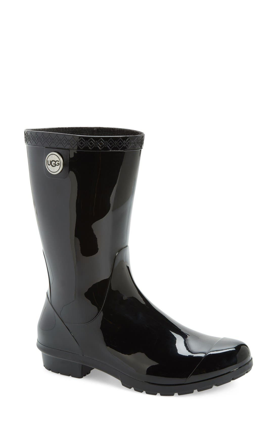 Sienna Rain Boot,                             Main thumbnail 1, color,                             BLACK