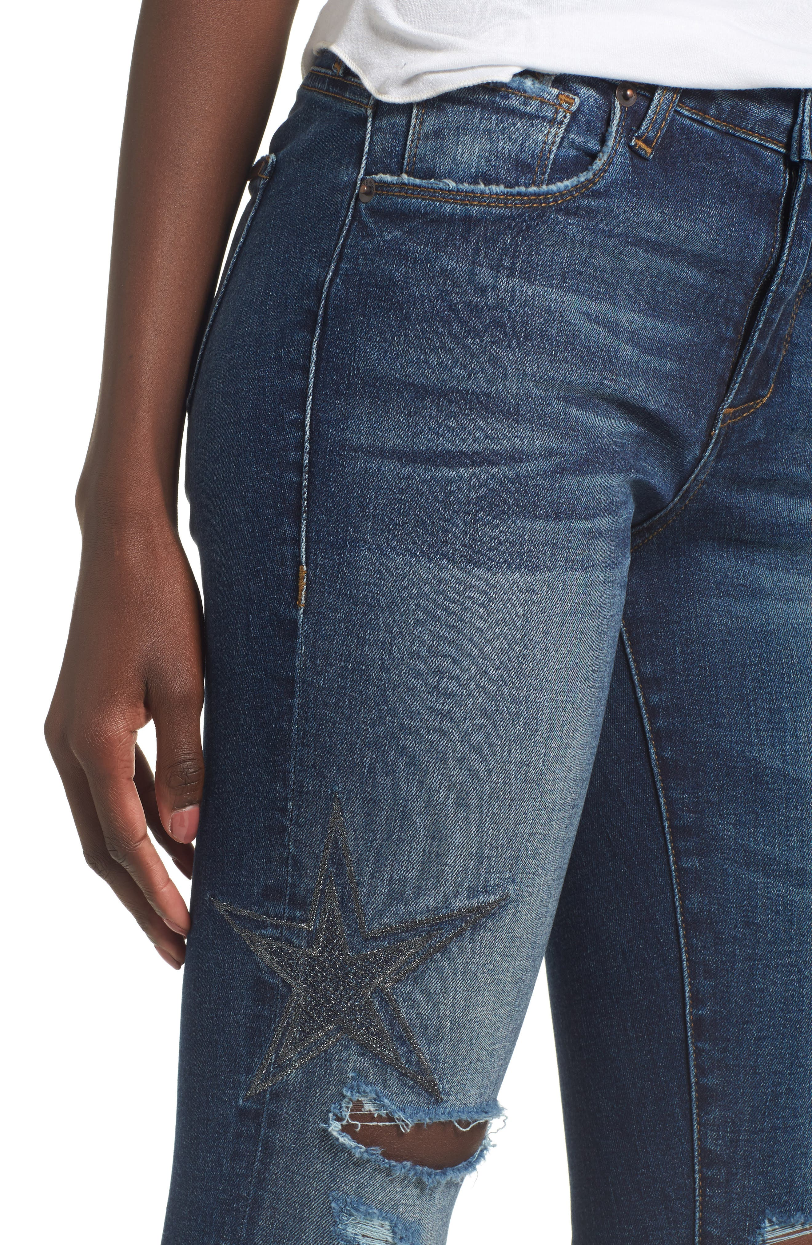 Star Embroiderd Skinny Ankle Jeans,                             Alternate thumbnail 4, color,                             400