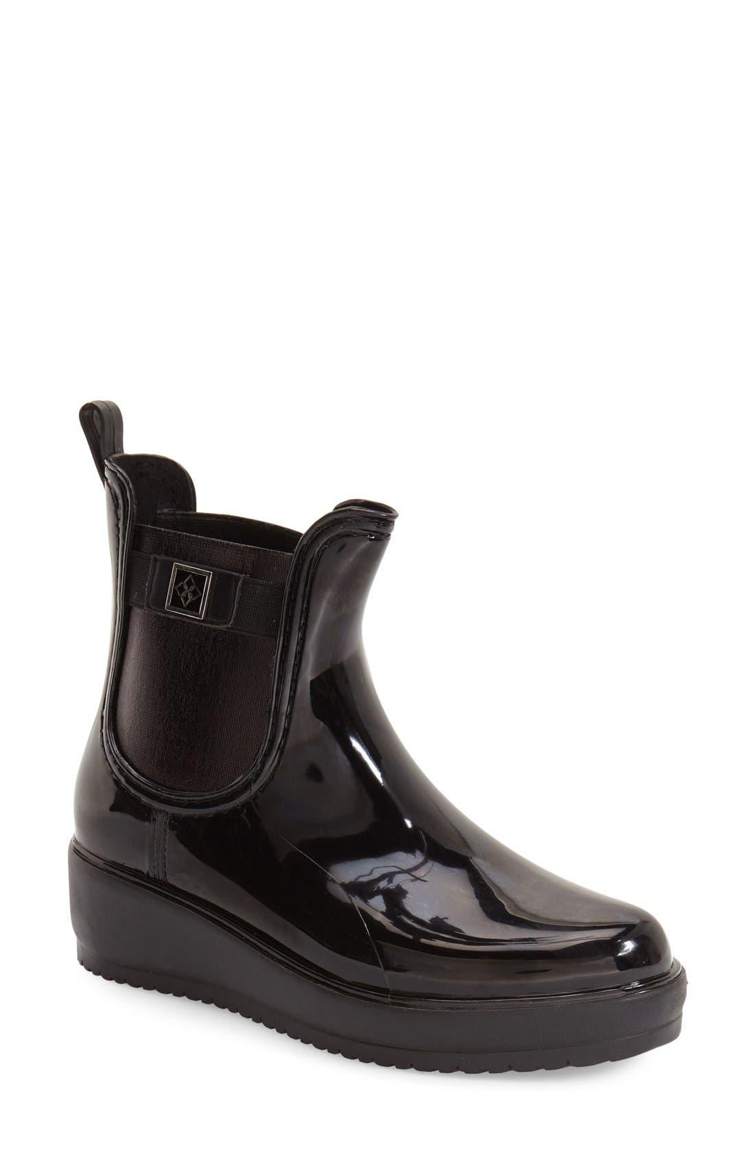 'Wakefield' Waterproof Platform Rain Chelsea Boot,                             Main thumbnail 1, color,                             BLACK